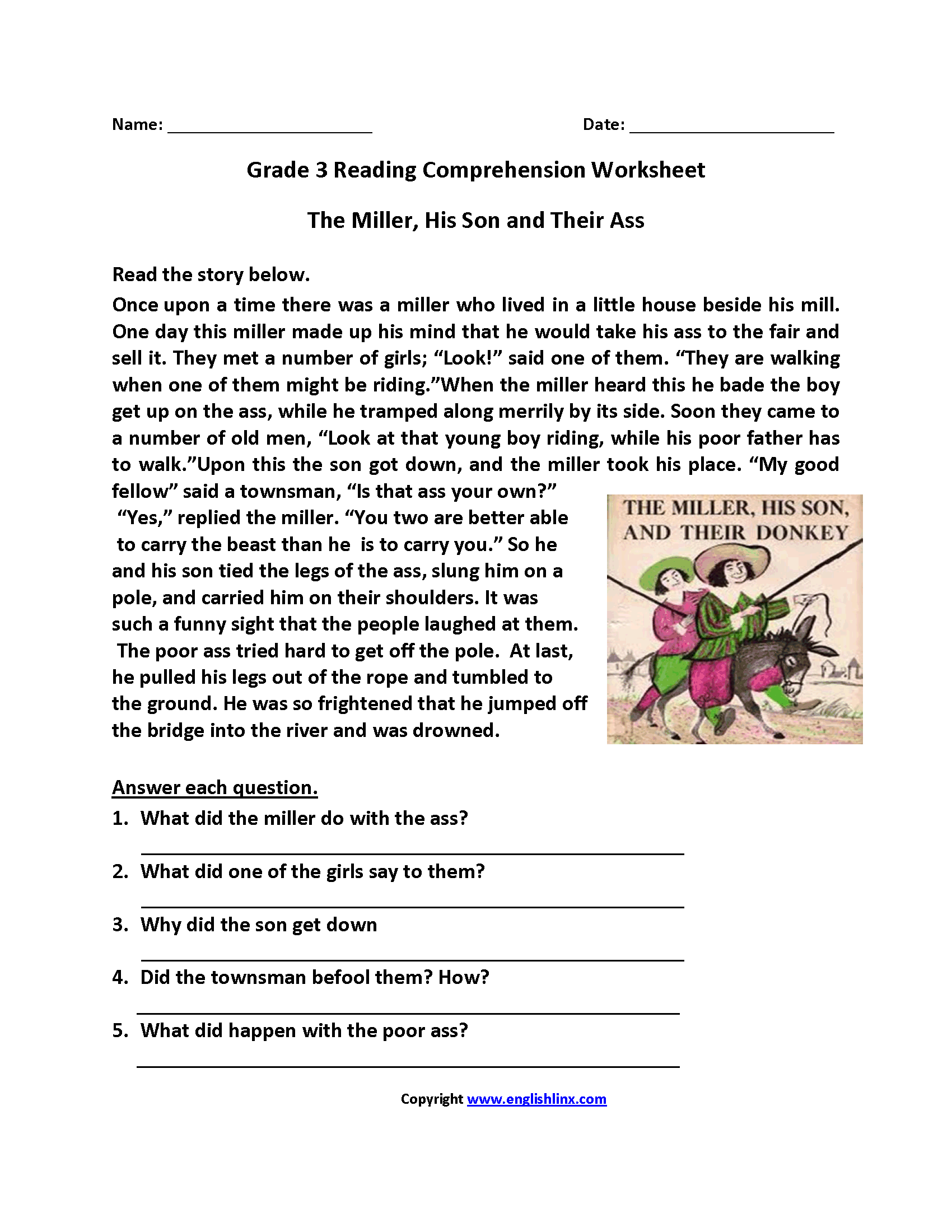 Worksheets Third Grade Comprehension Worksheets reading worksheets third grade worksheets