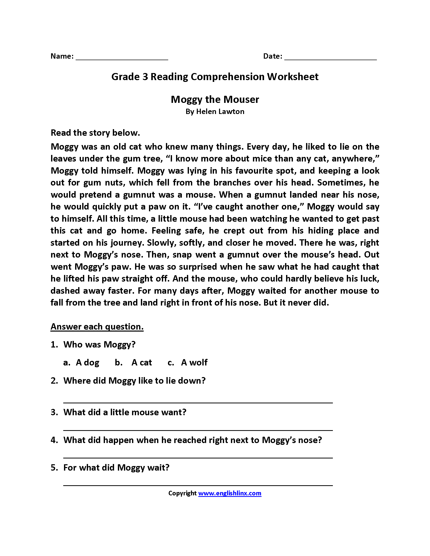 worksheet Reading Comprehension For 3rd Grade reading worksheets third grade worksheets