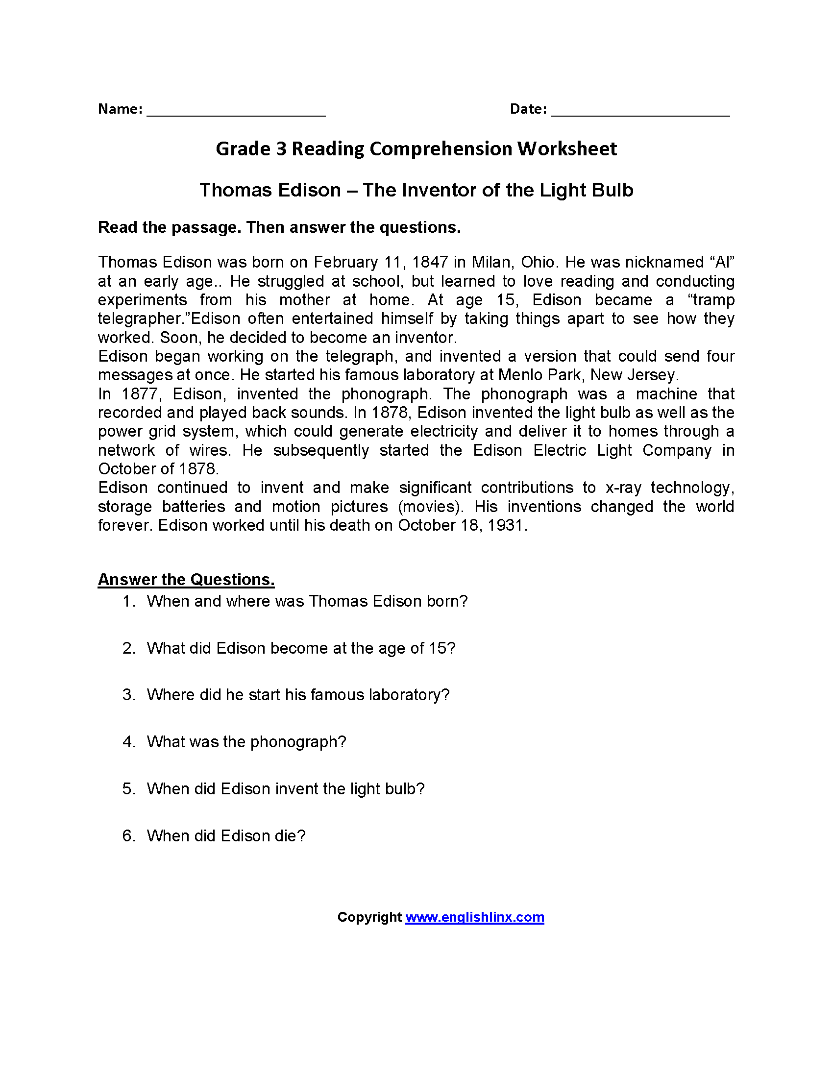 Reading Worksheets – Third Grade Comprehension Worksheets