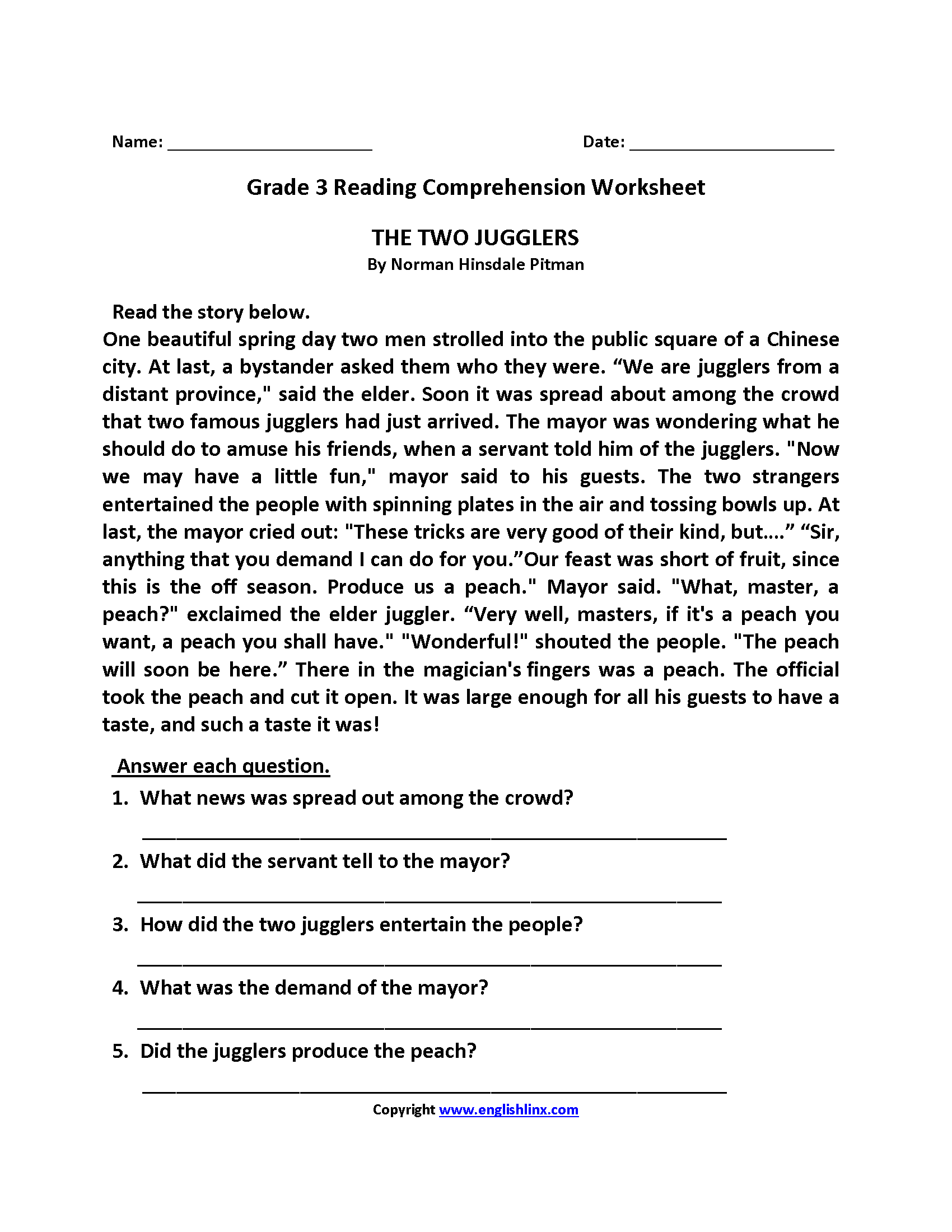 - Reading Worksheets Third Grade Reading Worksheets