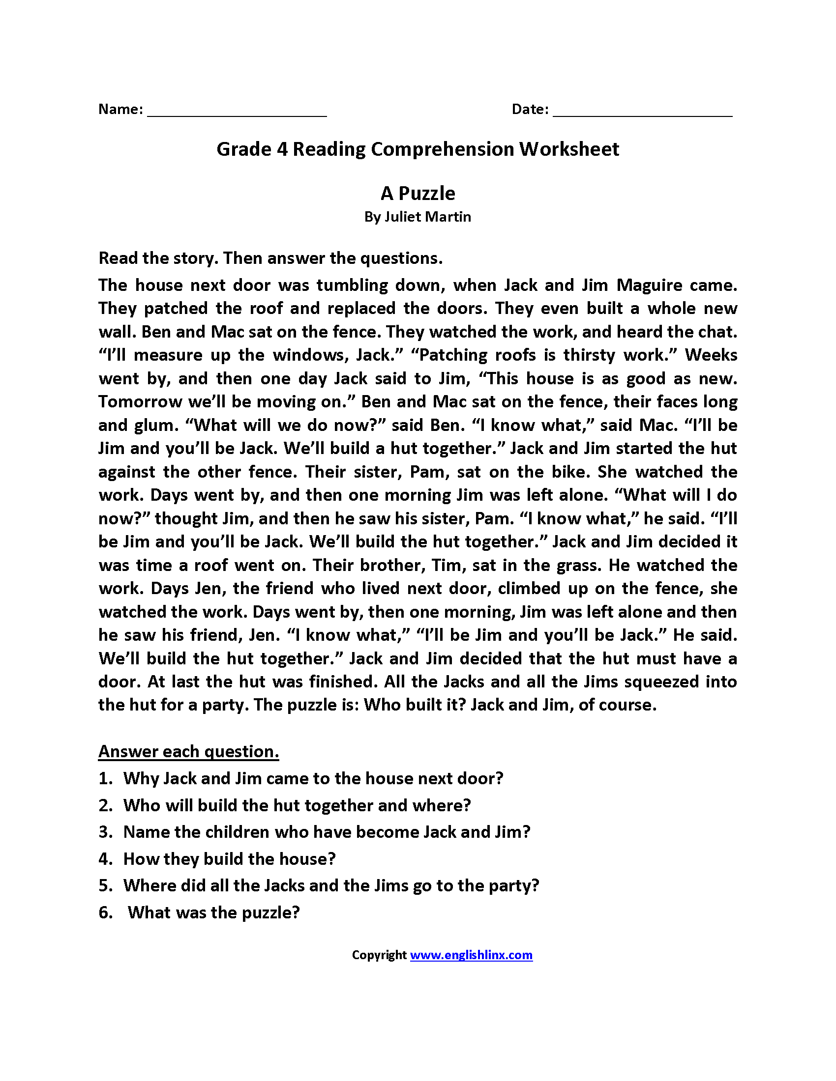 4th Grade Reading Comprehension Worksheets : Reading worksheets fourth grade