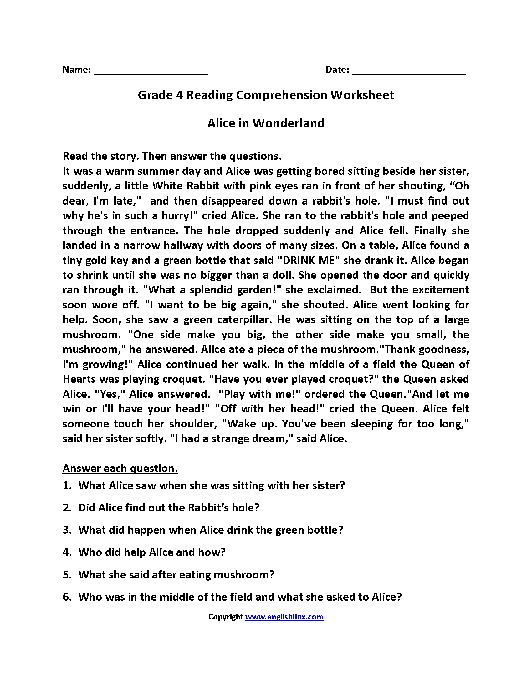 Worksheets Free 4th Grade Reading Comprehension Worksheets reading worksheets fourth grade worksheets