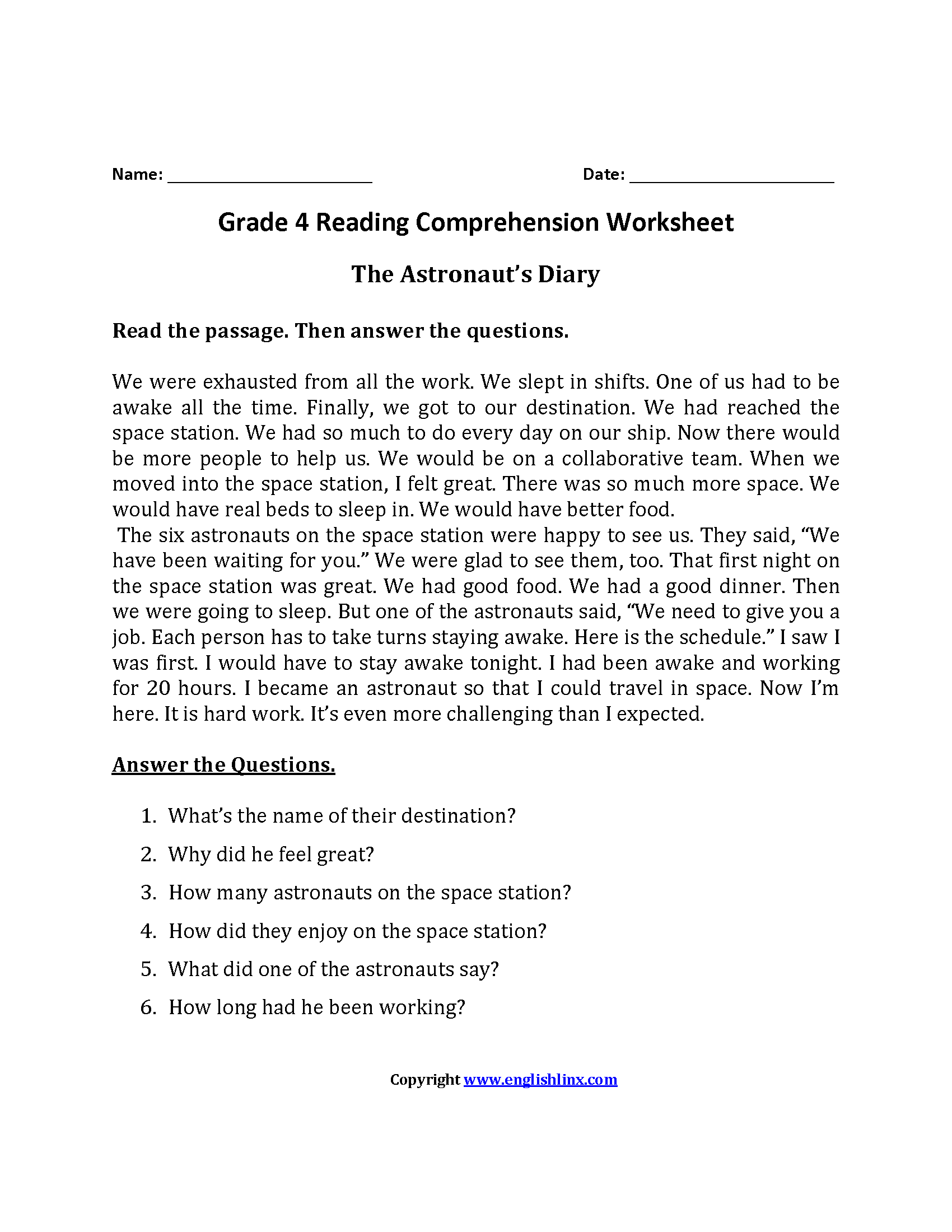 Reading Worksheets – Reading Worksheets for 4th Grade