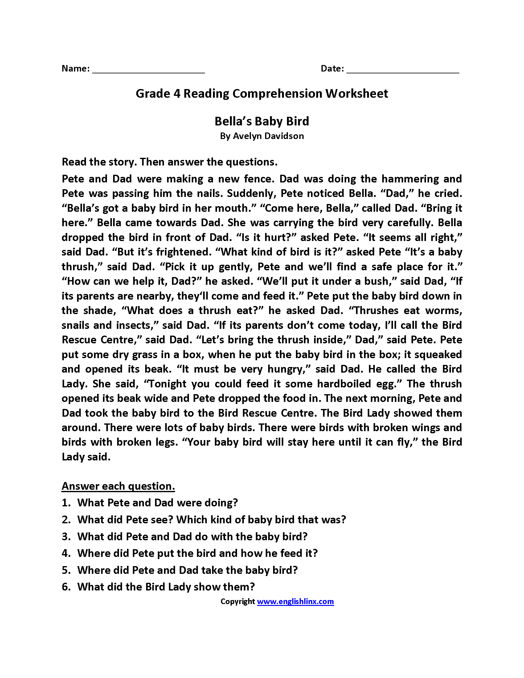 Reading Worksheets | Fourth Grade Reading Worksheets