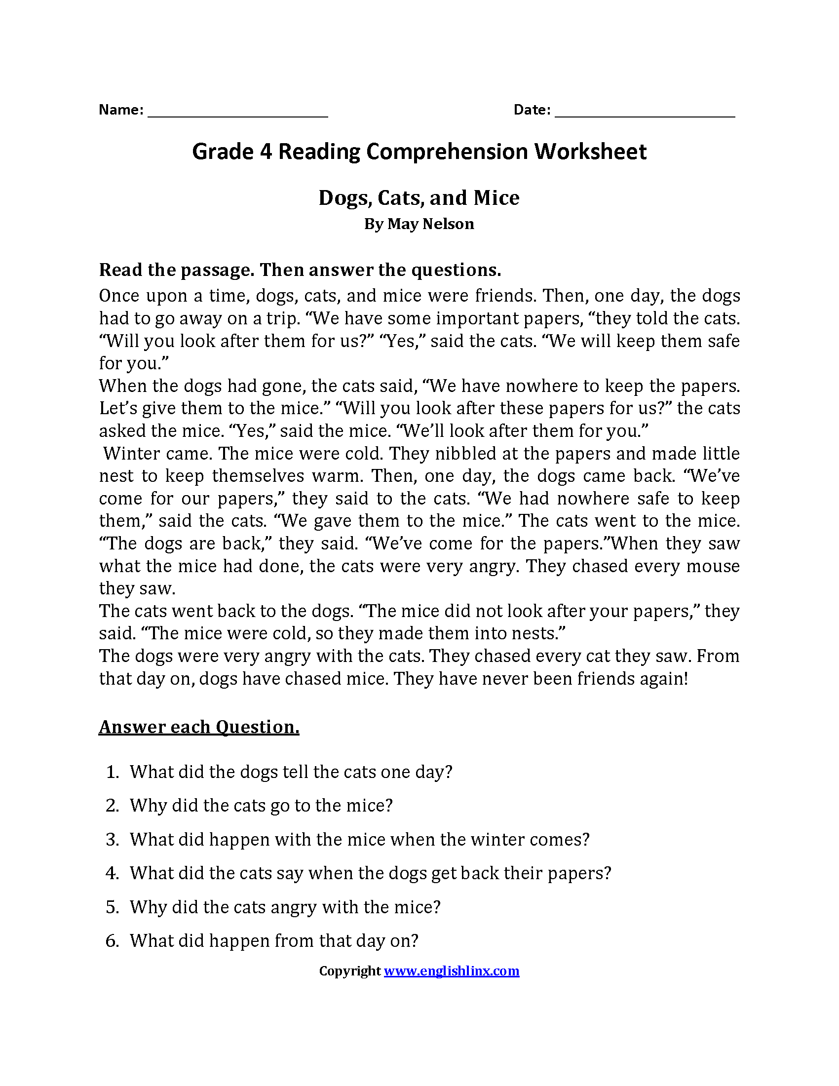 Worksheet Comprehension Passages For Grade 2 reading worksheets fourth grade worksheets