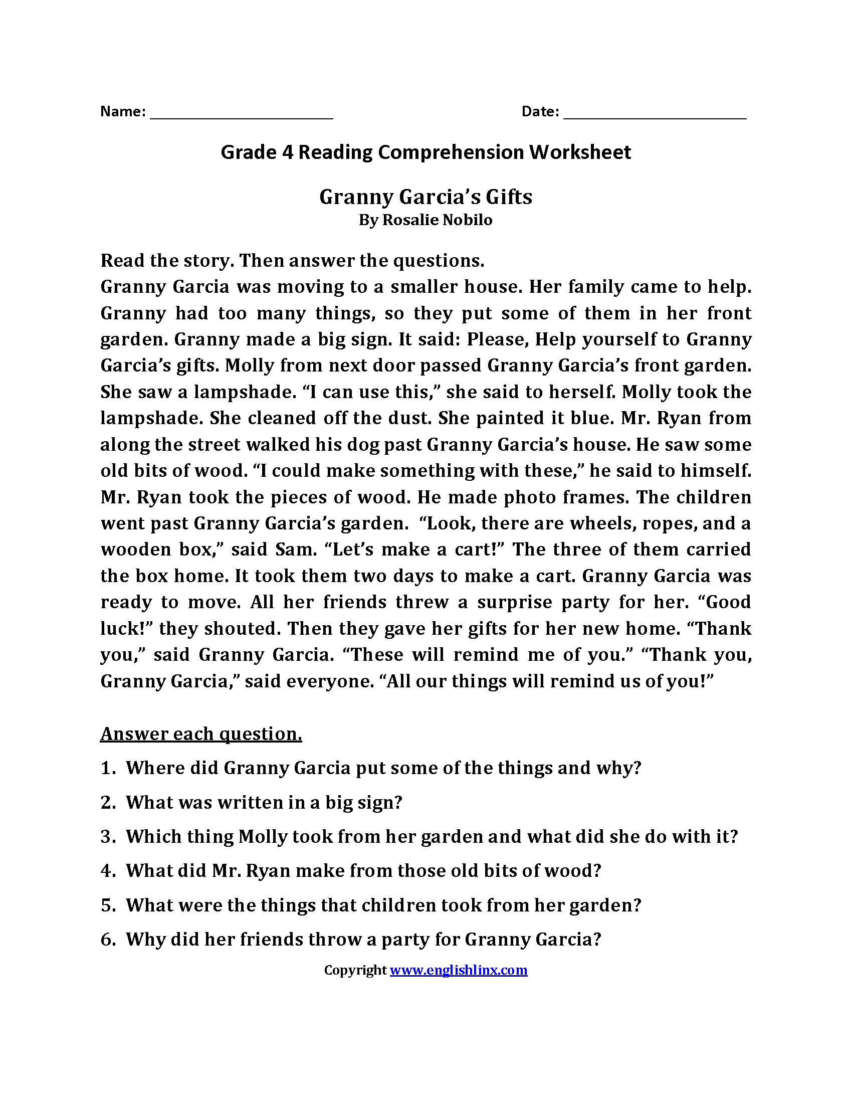 Reading Worksheets Fourth Grade Reading Worksheets