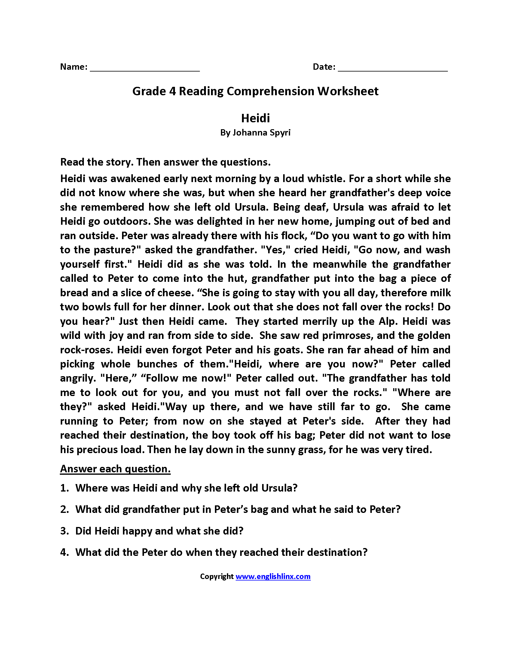 - Reading Worksheets Fourth Grade Reading Worksheets