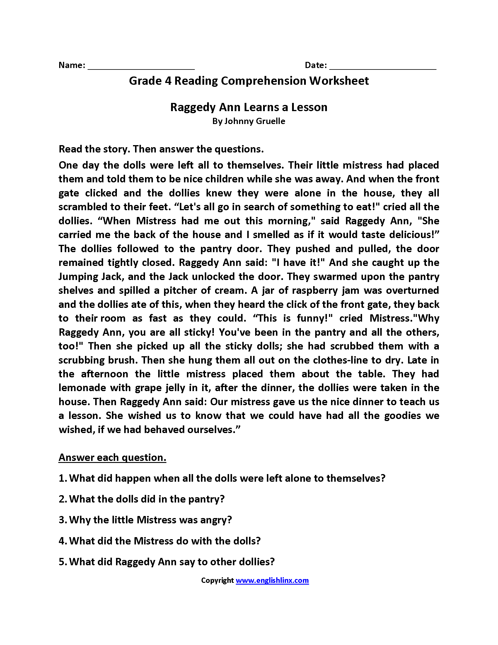 Worksheets 4th Grade Reading Worksheets reading worksheets fourth grade worksheets
