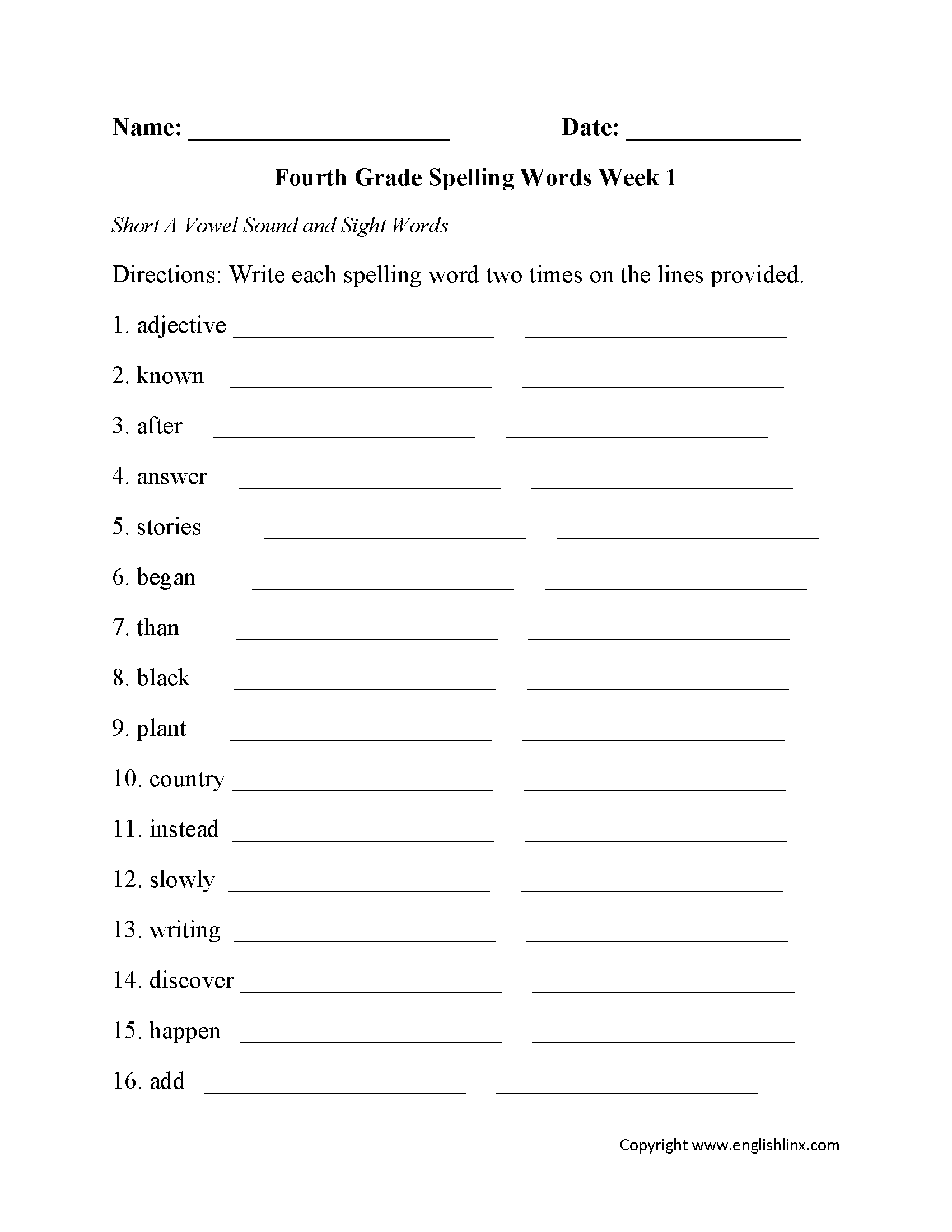 Spelling Worksheets – Worksheets for 4th Grade