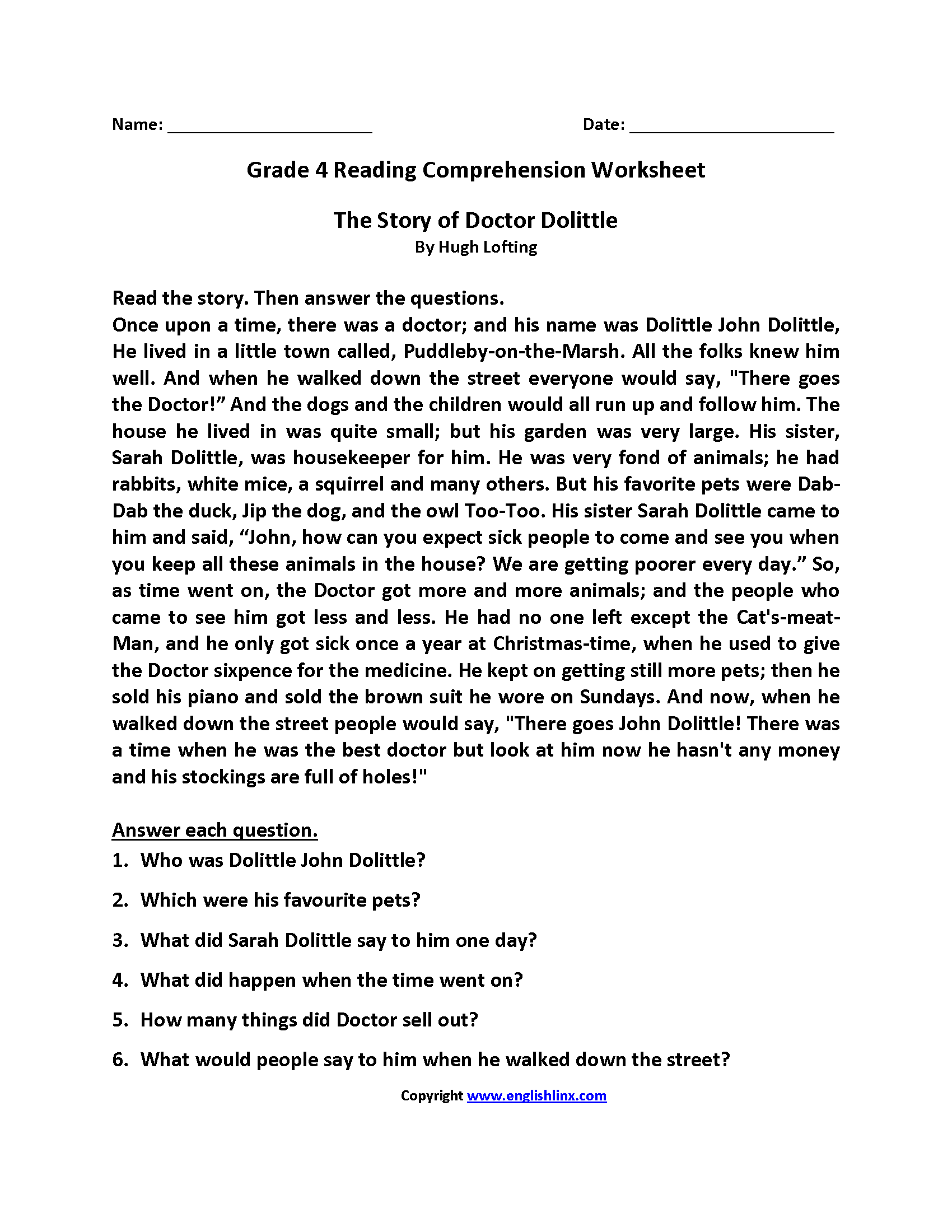 Worksheet 4th Grade Short Stories reading worksheets fourth grade story of dr doolittle worksheets