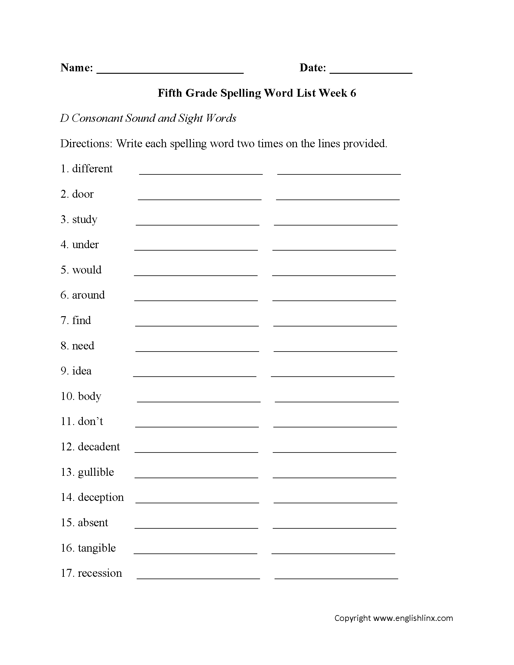 Week 6 D Consonant And Sight Words Fifth Grade Spelling Worksheets