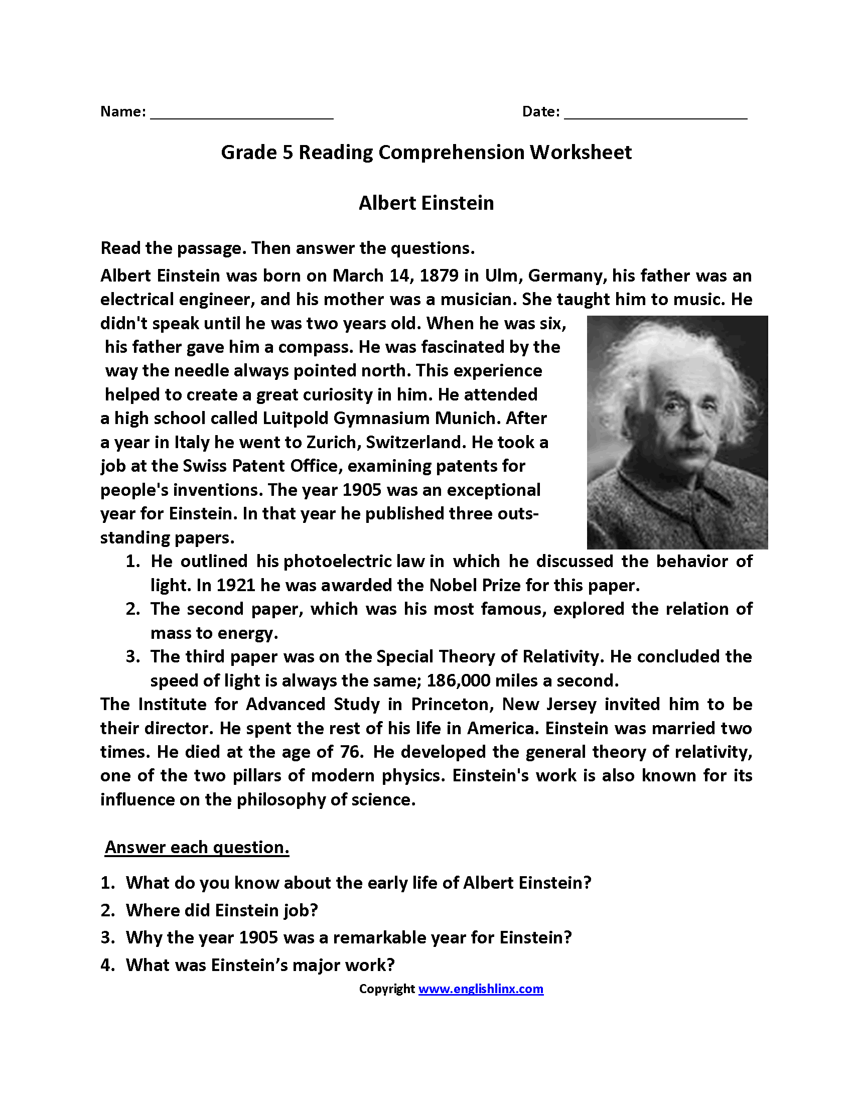 Worksheets 5th Grade Comprehension Worksheets english worksheets reading fifth grade worksheets