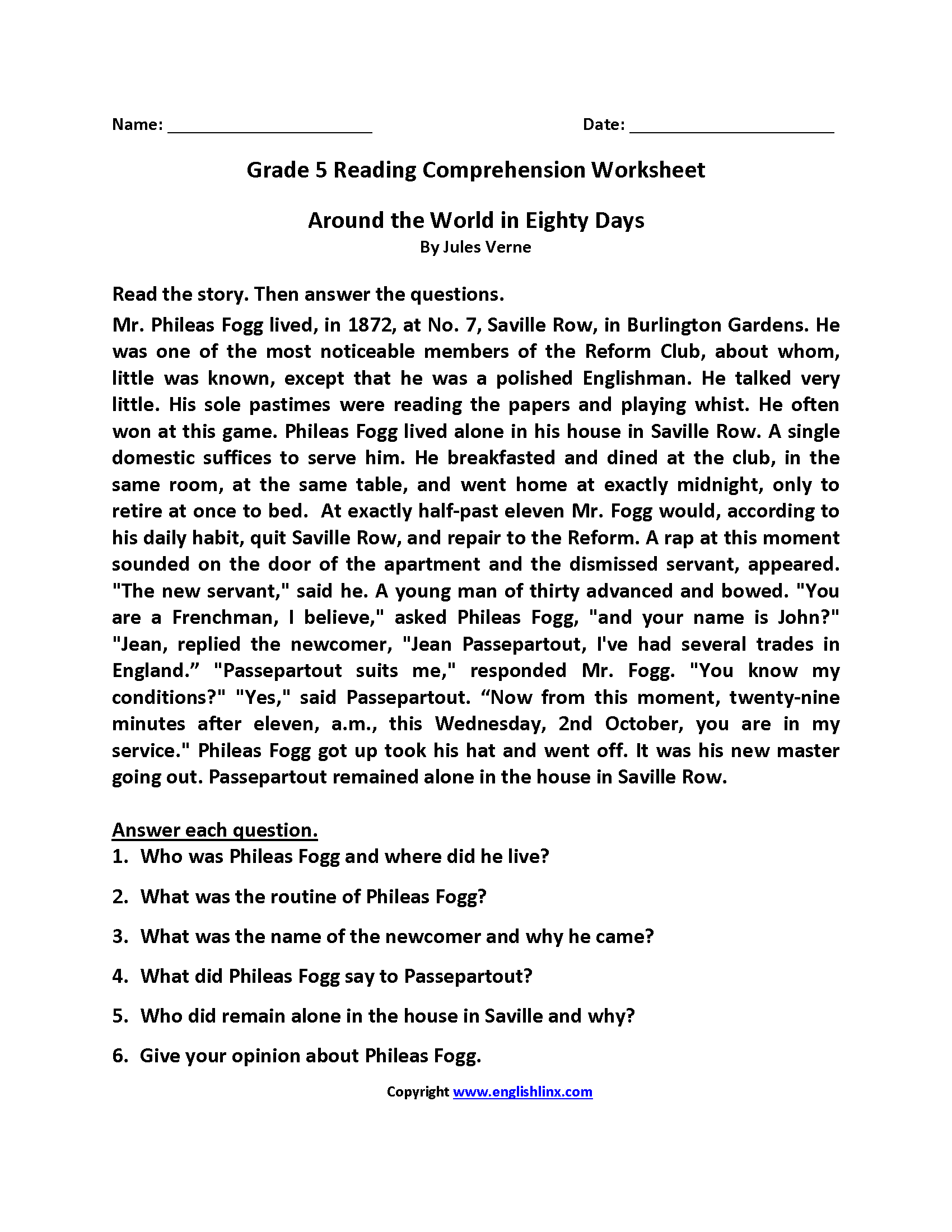 Reading Worksheets – Reading Comprehension Worksheet 5th Grade