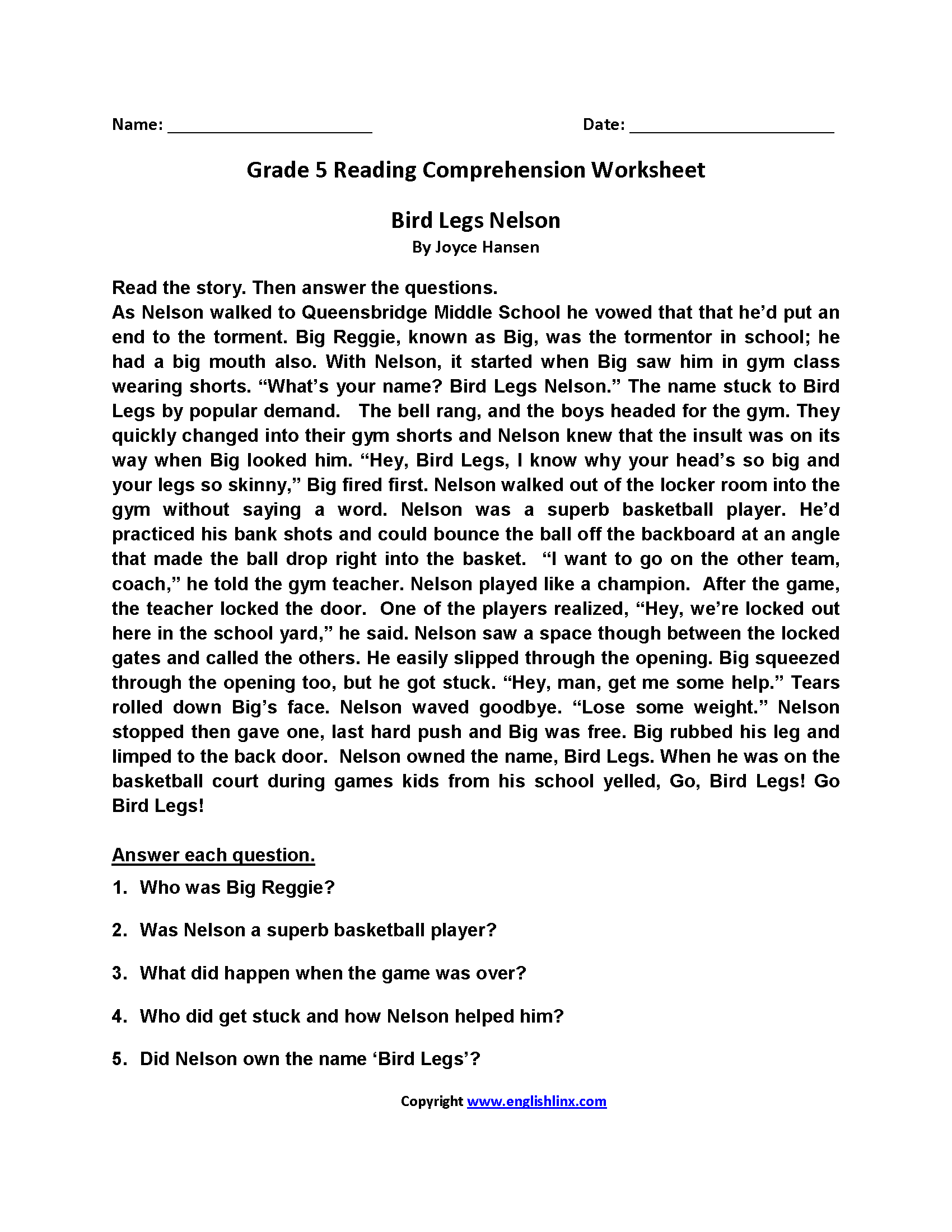 Worksheets Fifth Grade English Worksheets reading worksheets fifth grade worksheets