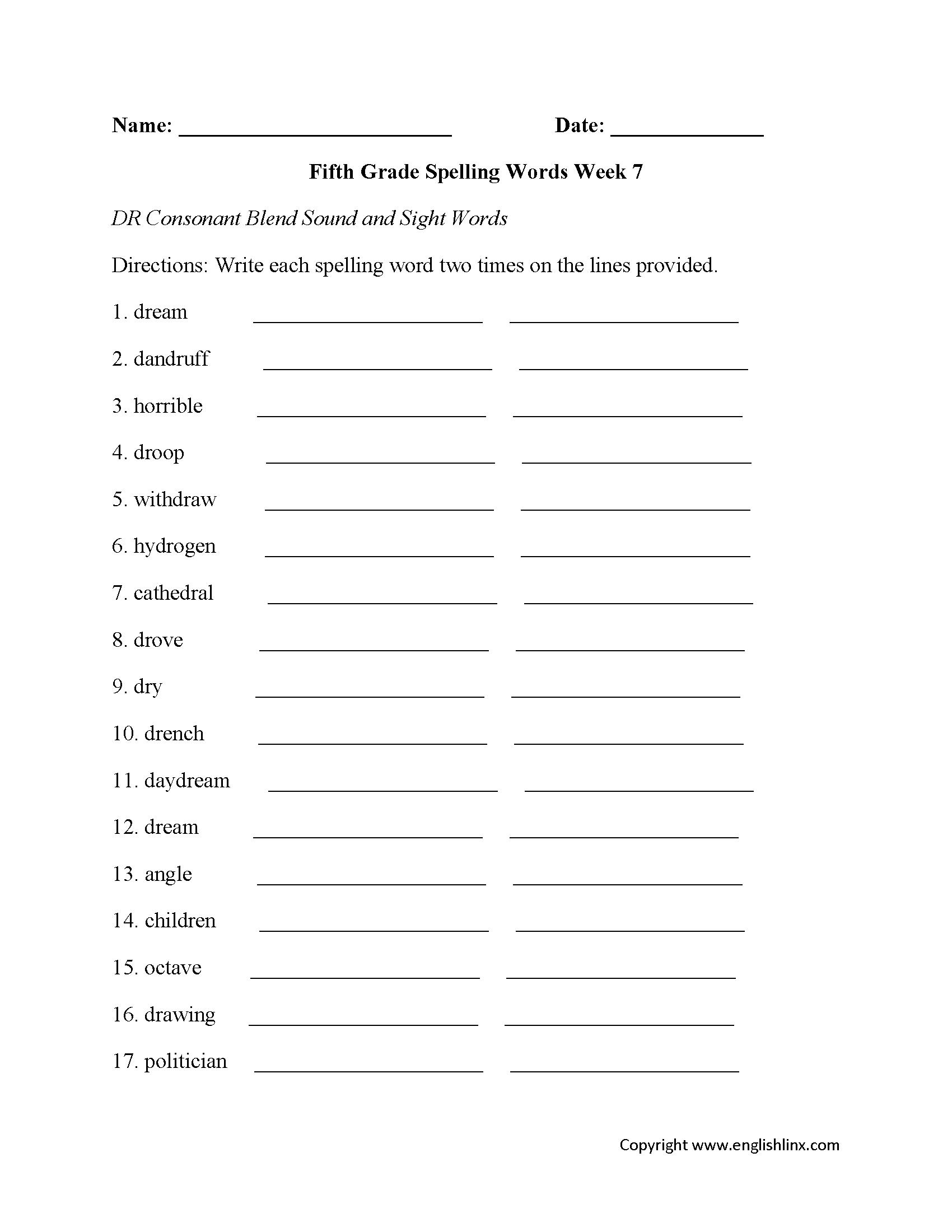 Spelling Worksheets | Fifth Grade Spelling Worksheets