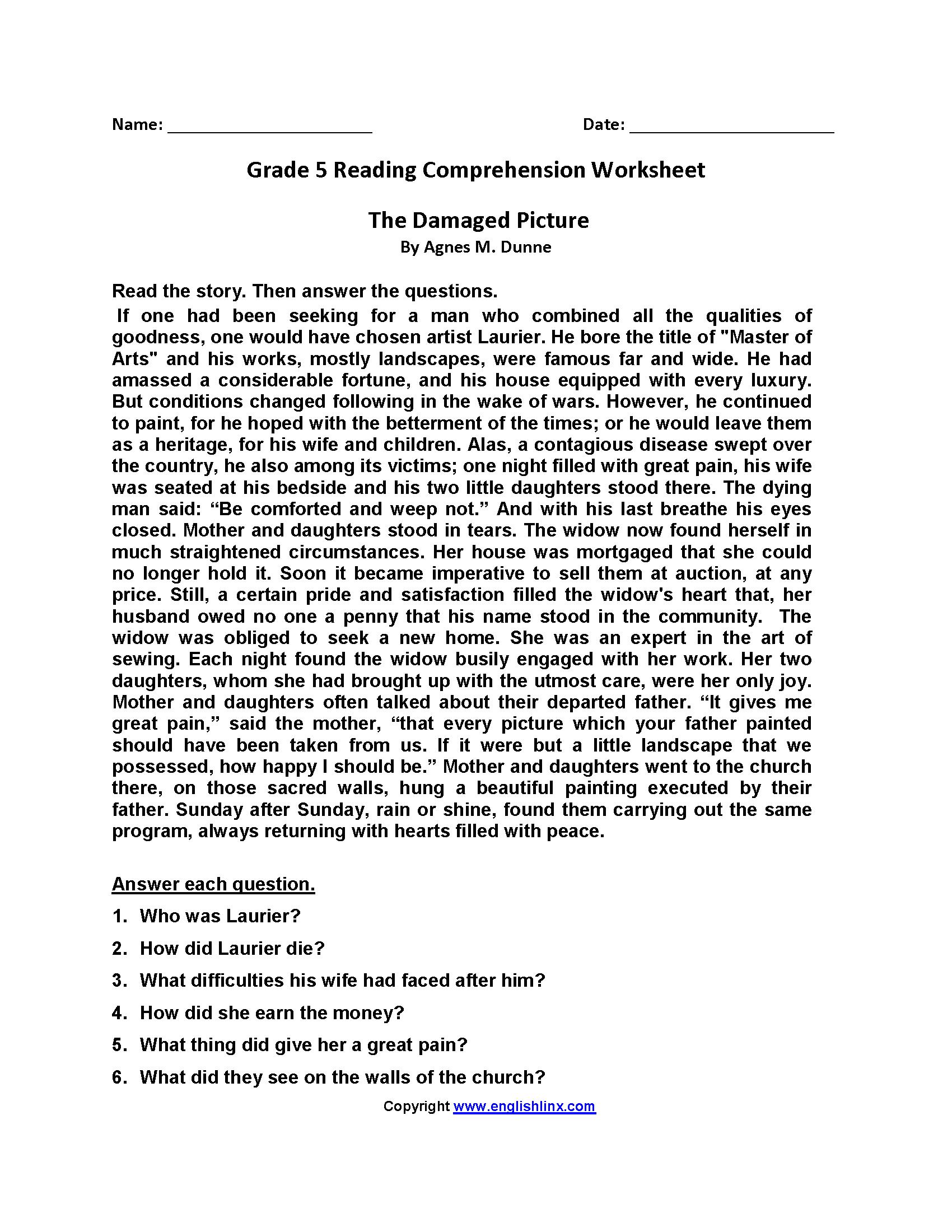 Reading Comprehension 5th Grade Worksheet - best worksheet