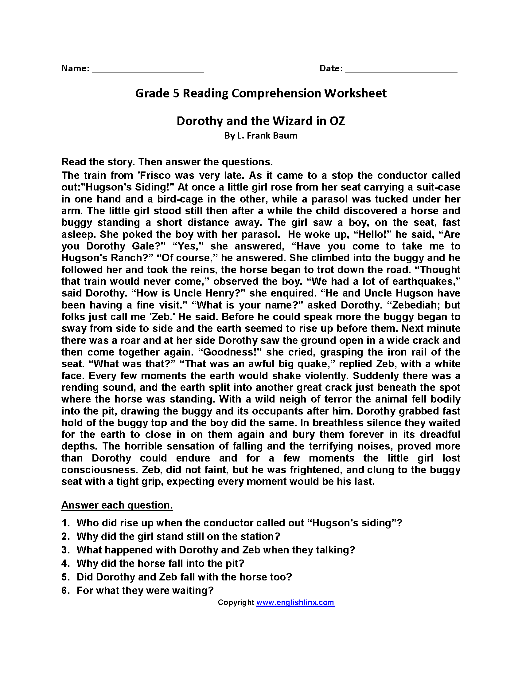 Worksheet Reading For Fifth Graders reading worksheets fifth grade worksheets