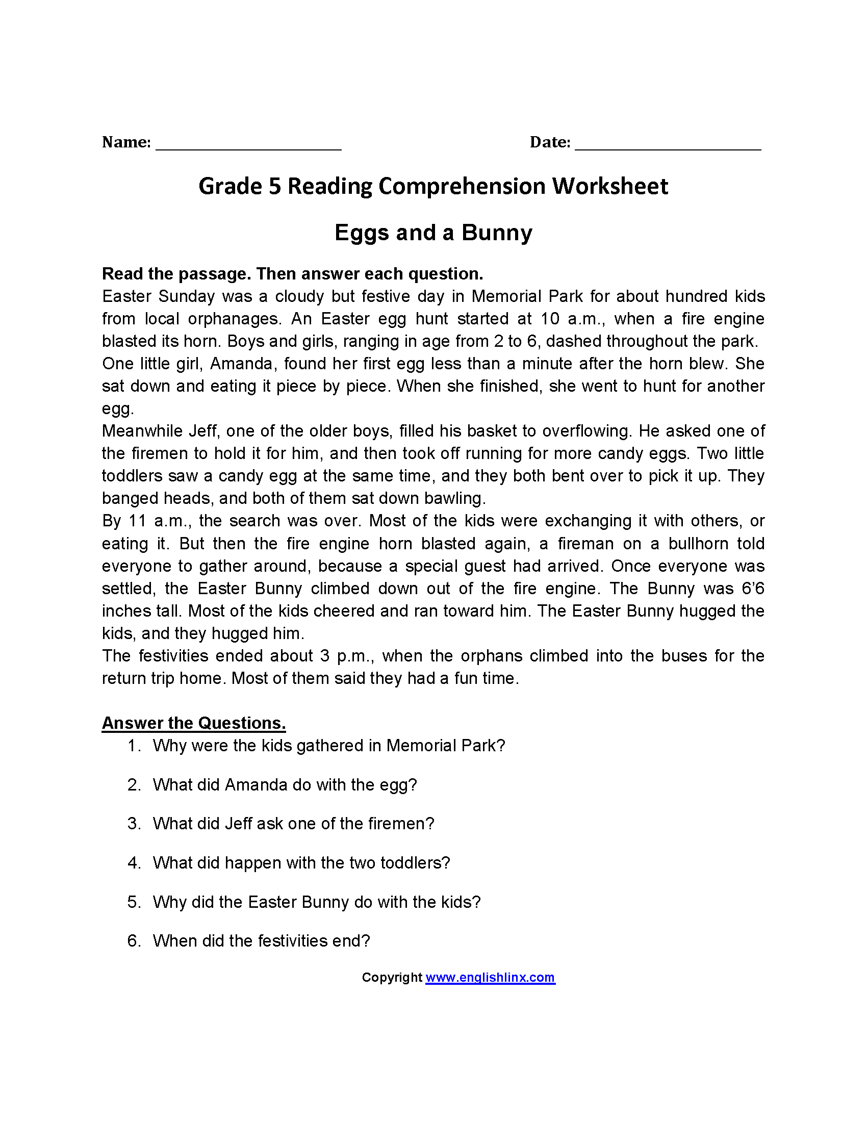 Worksheets Reading Worksheets 5th Grade reading worksheets fifth grade worksheets