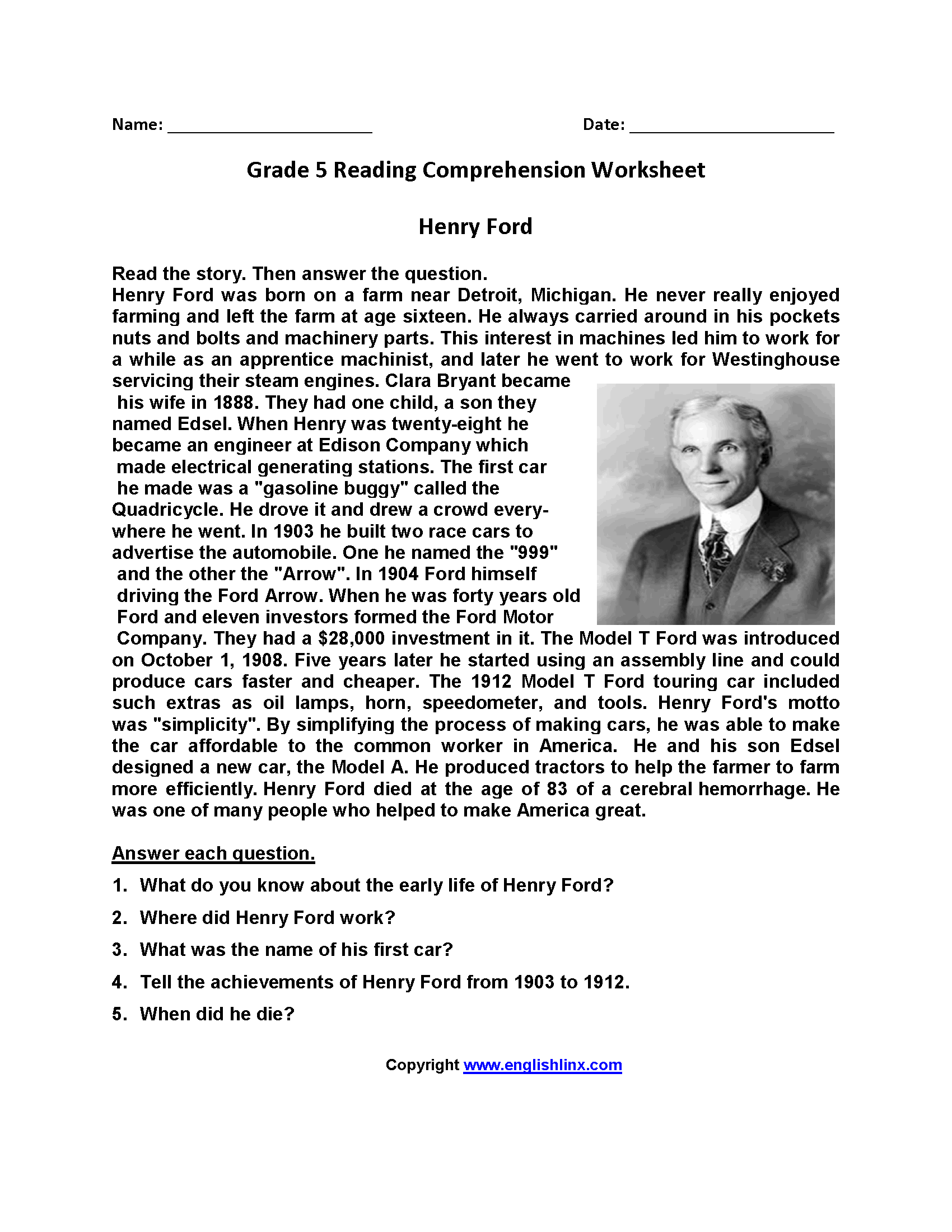 Worksheet 4th Grade Reading Comprehension Questions reading worksheets fifth grade worksheets