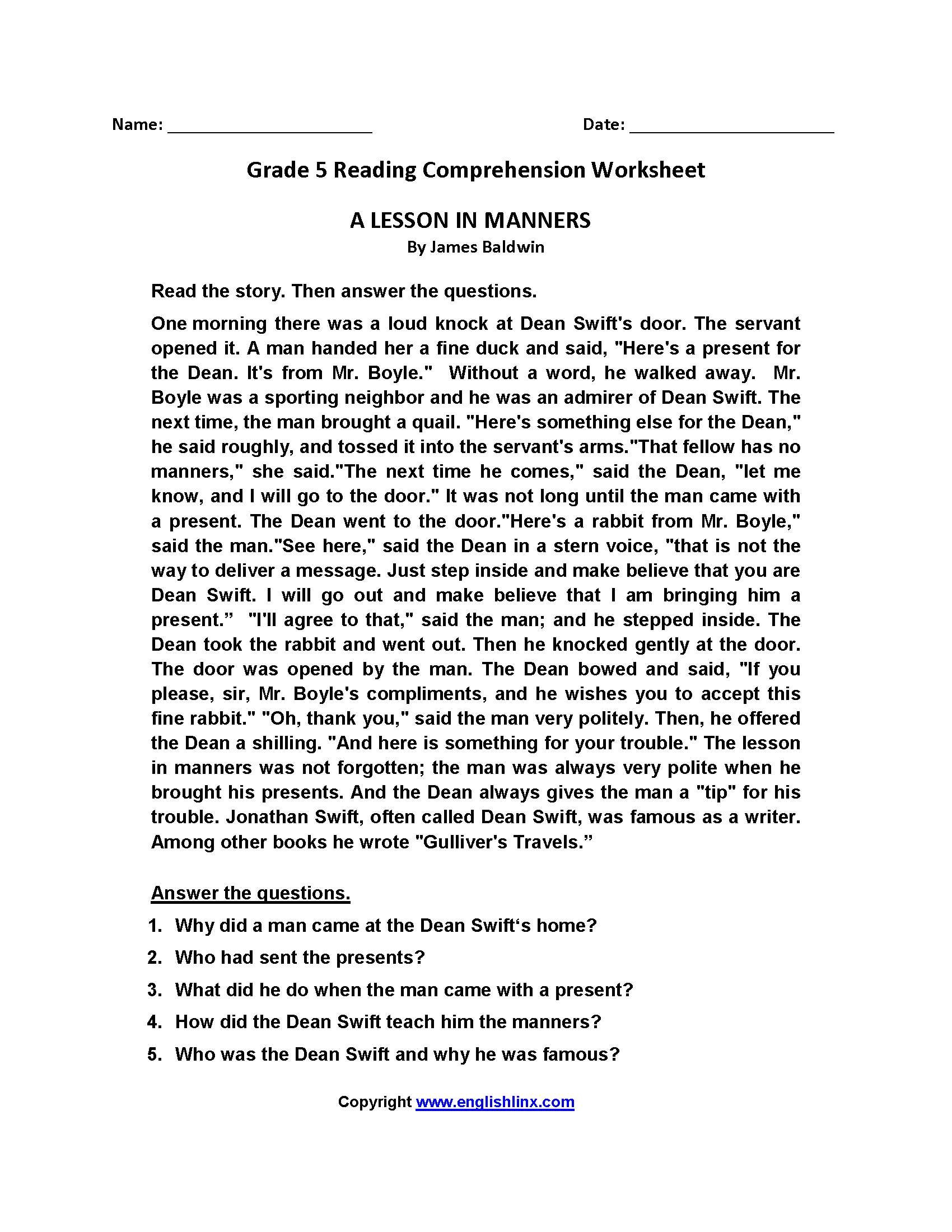 Worksheets 5th Grade Comprehension Worksheets reading worksheets fifth grade worksheets