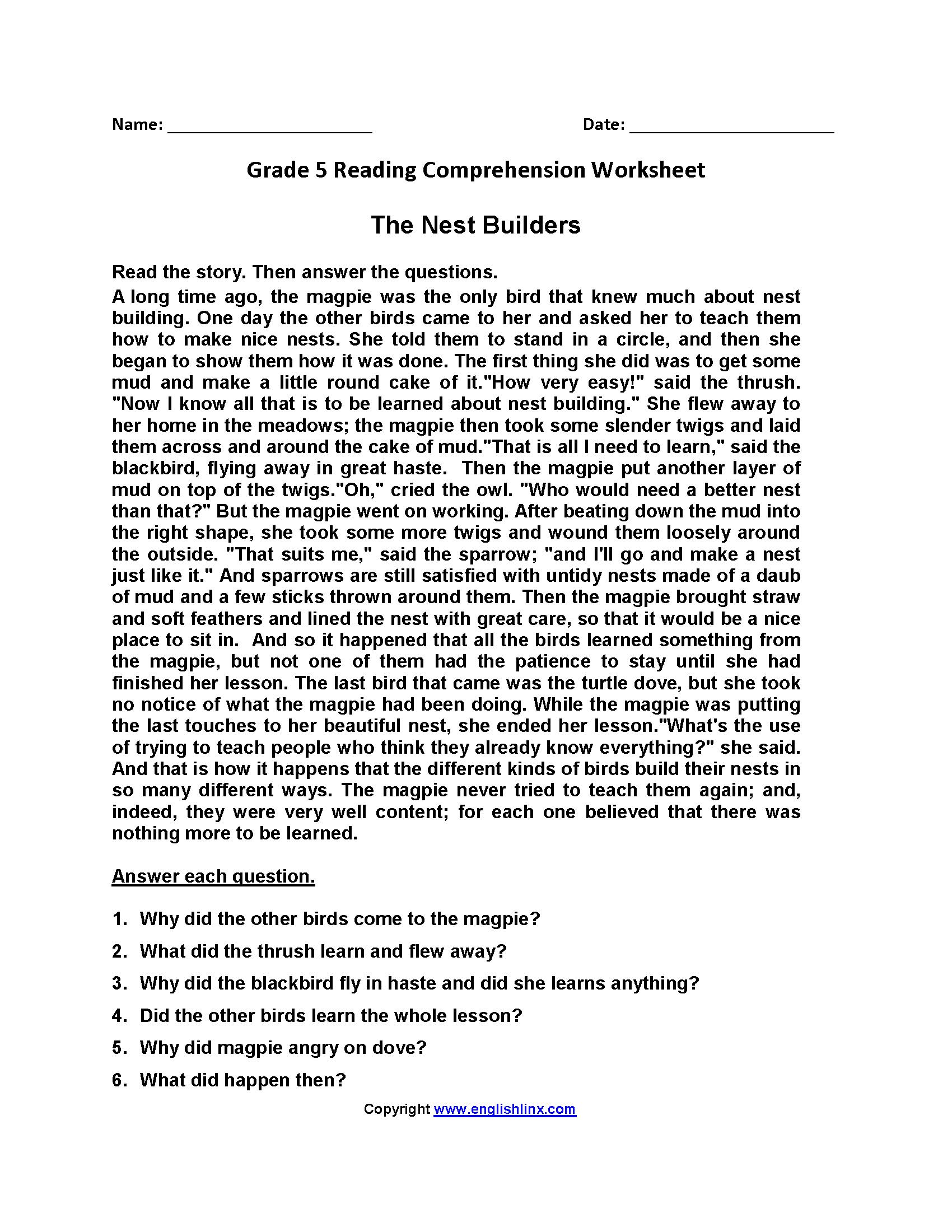- Reading Worksheets Fifth Grade Reading Worksheets