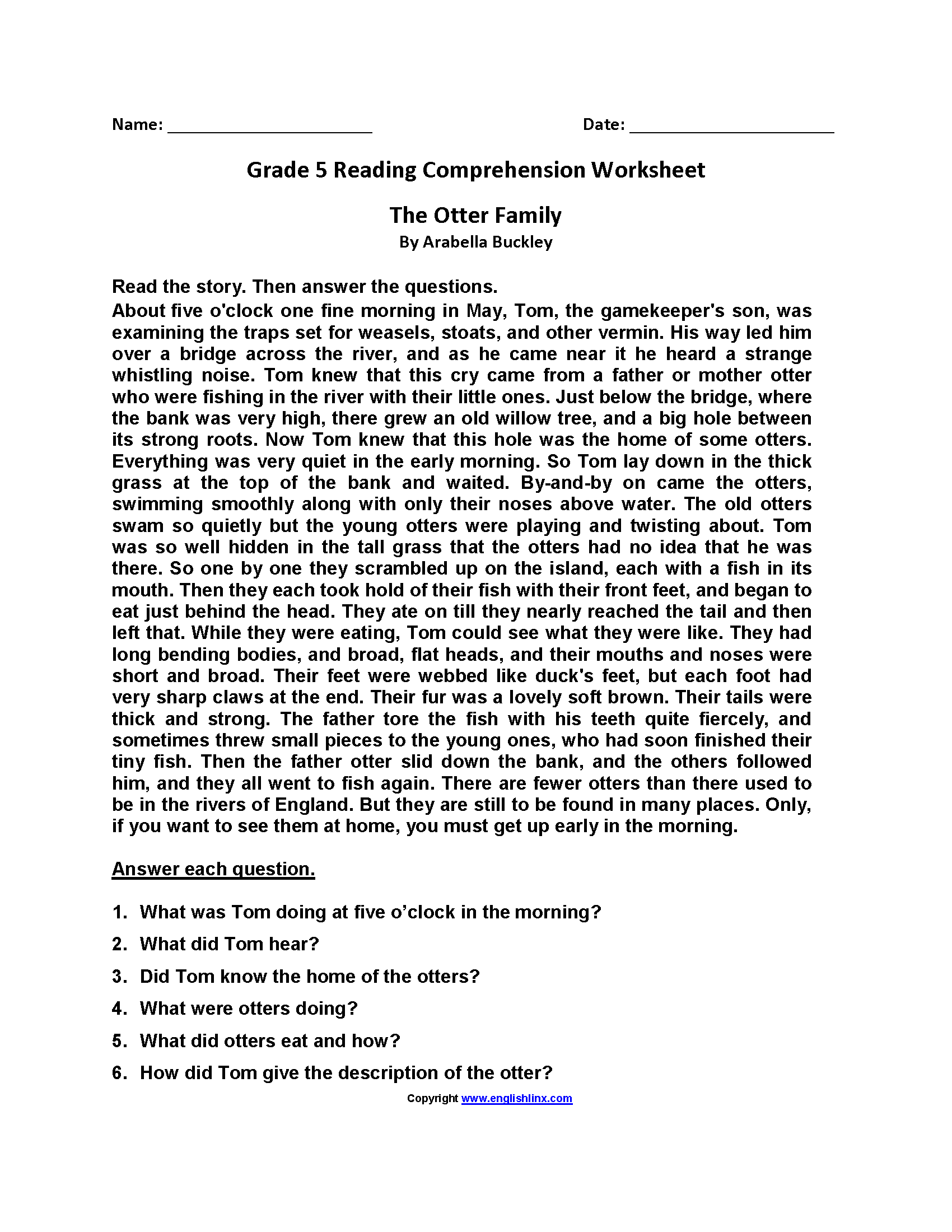 Reading Worksheets | Fifth Grade Reading Worksheets
