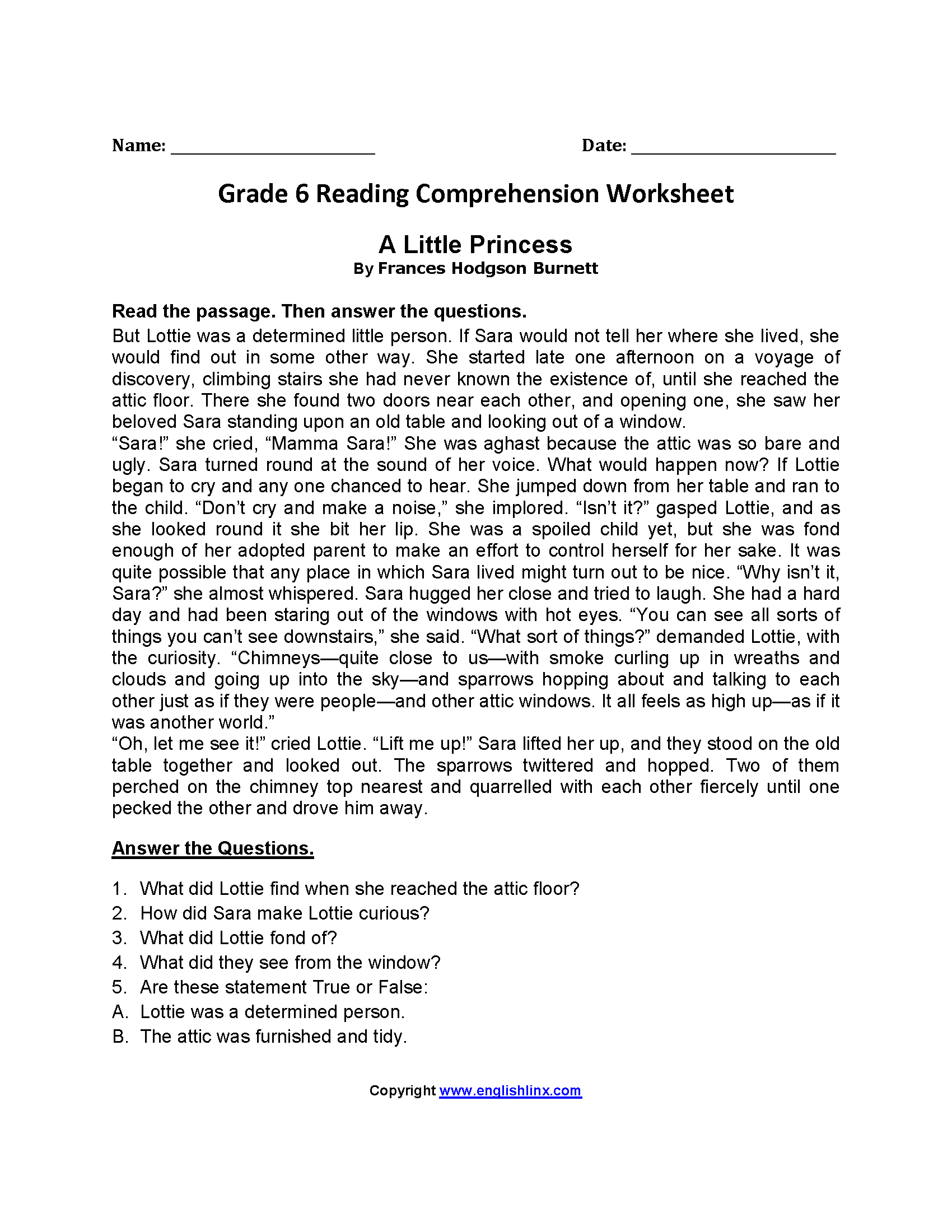Worksheet Fourth Grade Reading Comprehension Worksheet reading worksheets sixth grade worksheets