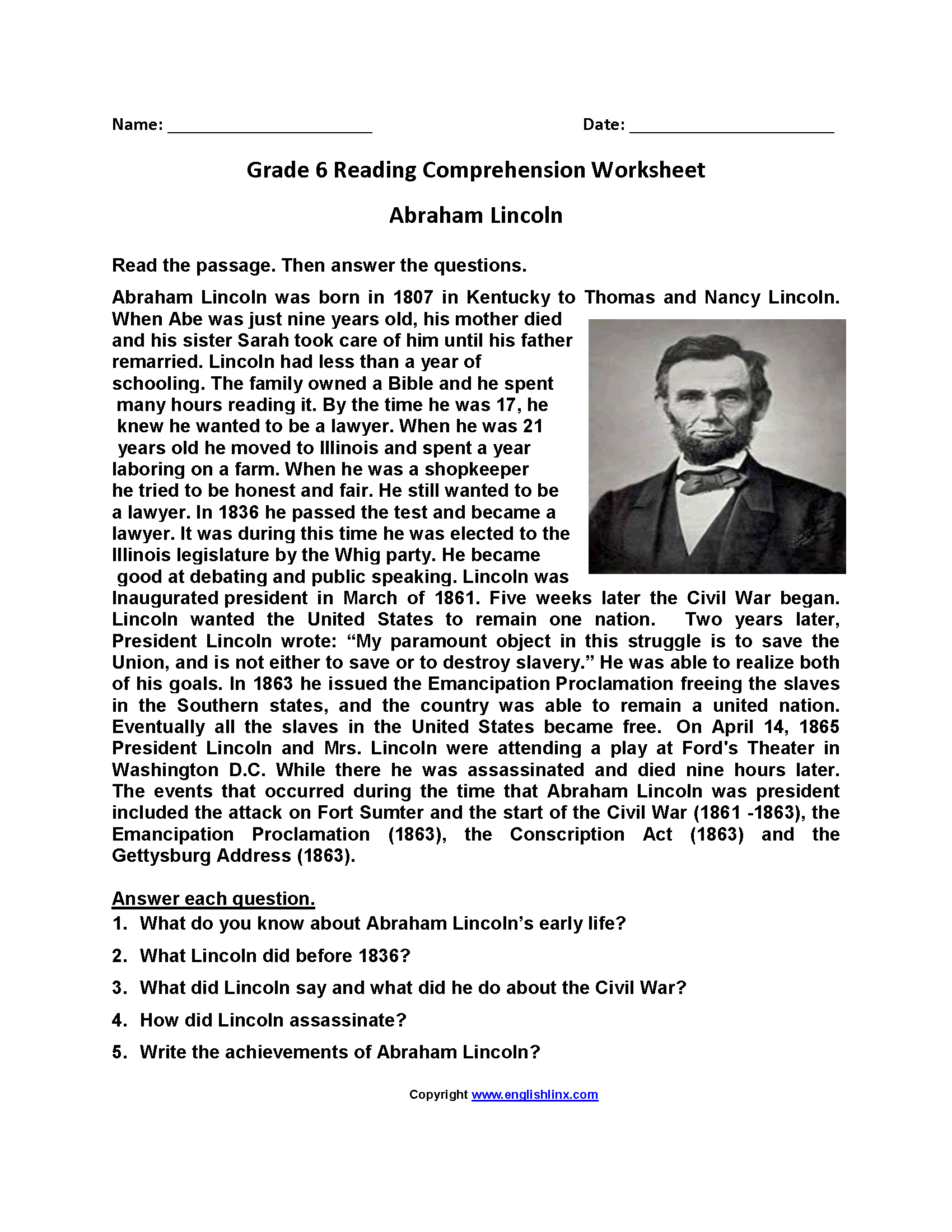 Free reading comprehension worksheets for sixth graders