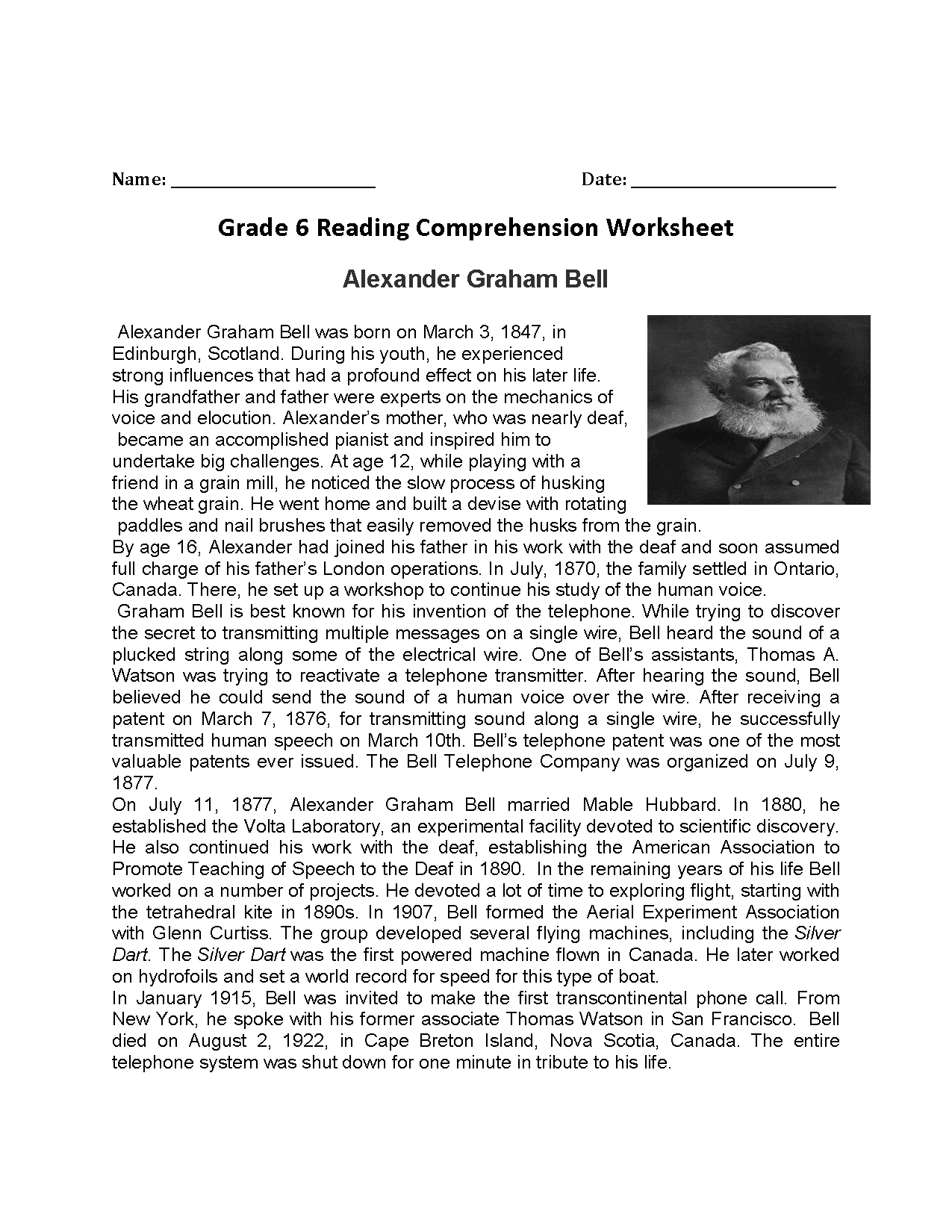 Worksheets Sixth Grade Reading Worksheets reading worksheets sixth grade alexander graham bellsixth worksheets