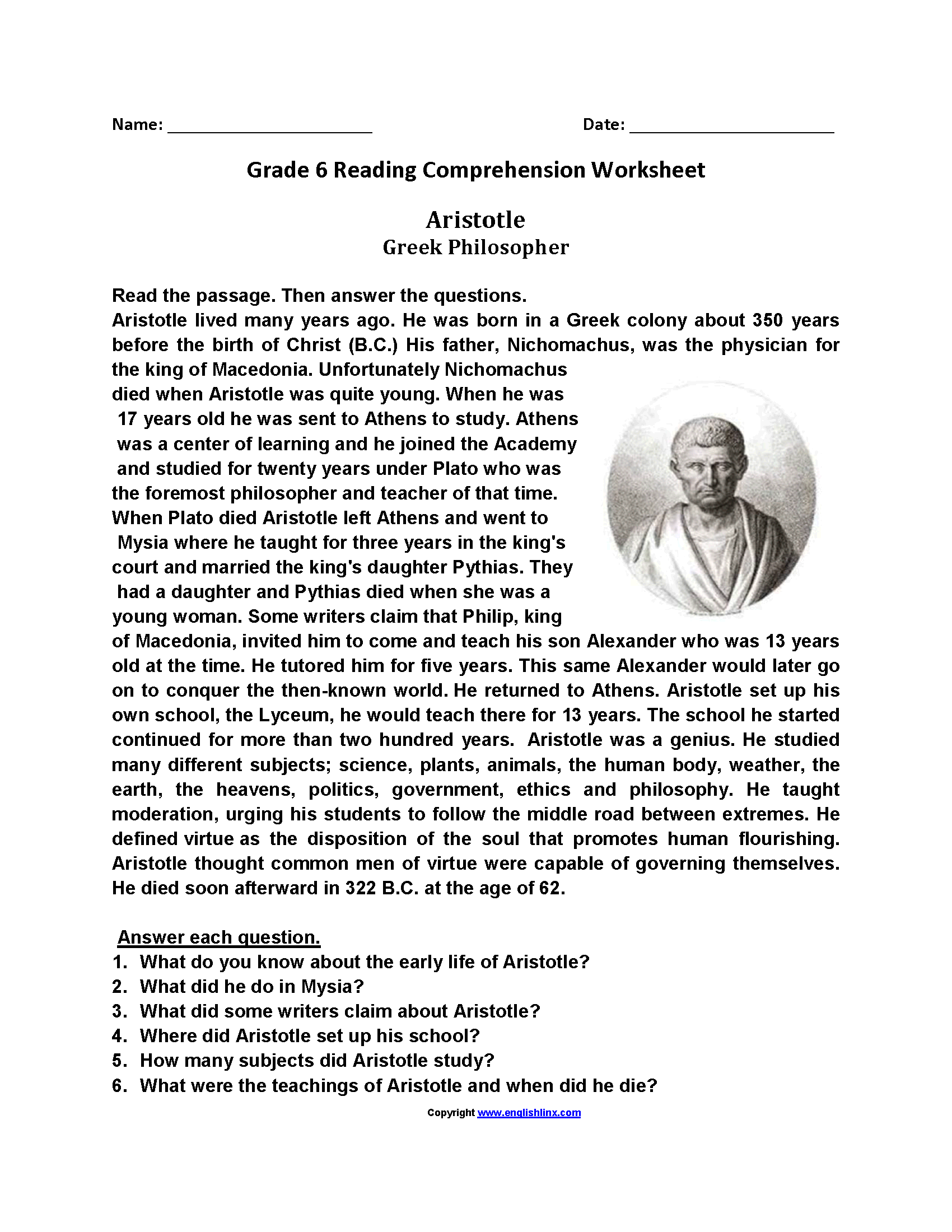 Reading Worksheets | Sixth Grade Reading Worksheets