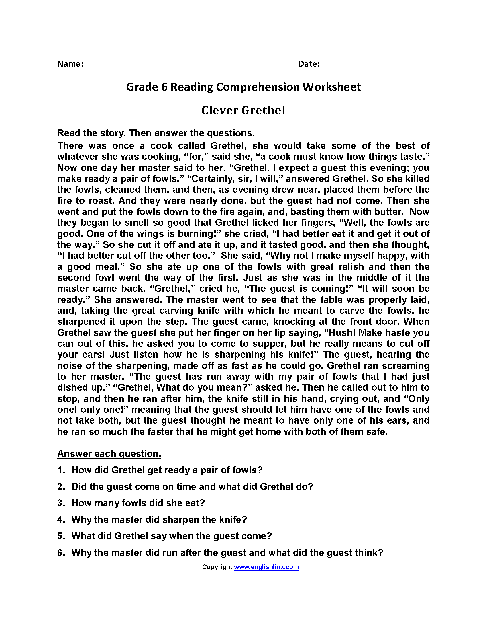 Worksheets 6th Grade Worksheets Reading reading worksheets sixth grade worksheets