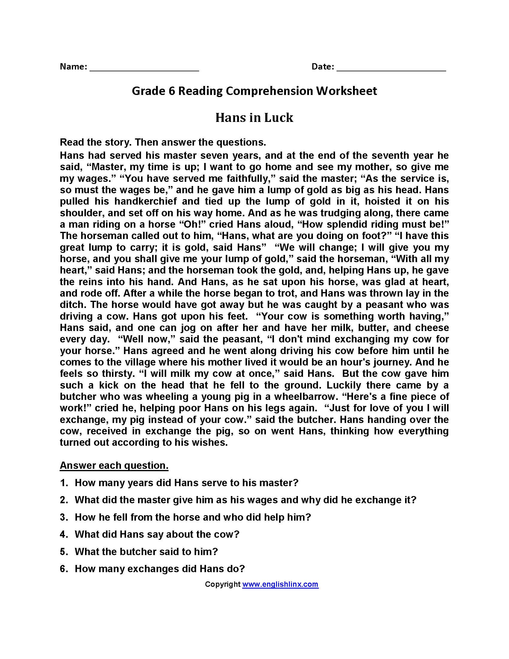 Reading Worksheets Sixth Grade Reading Worksheets