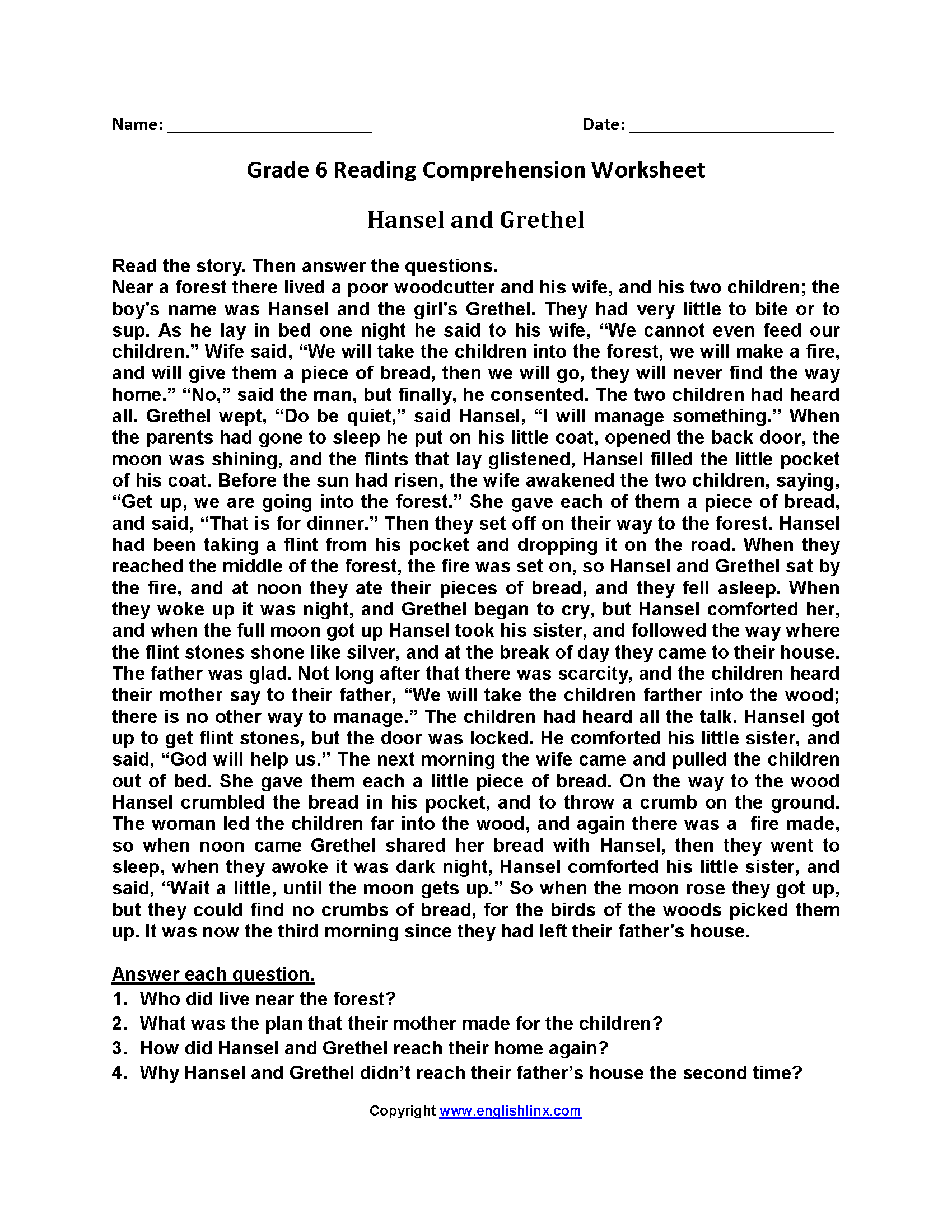 - 10+ Printable Grade 6 English Comprehension Worksheets Pictures