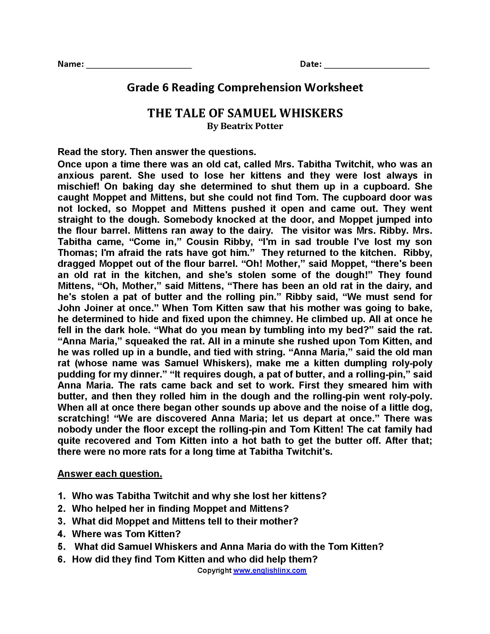 - Reading Worksheets Sixth Grade Reading Worksheets