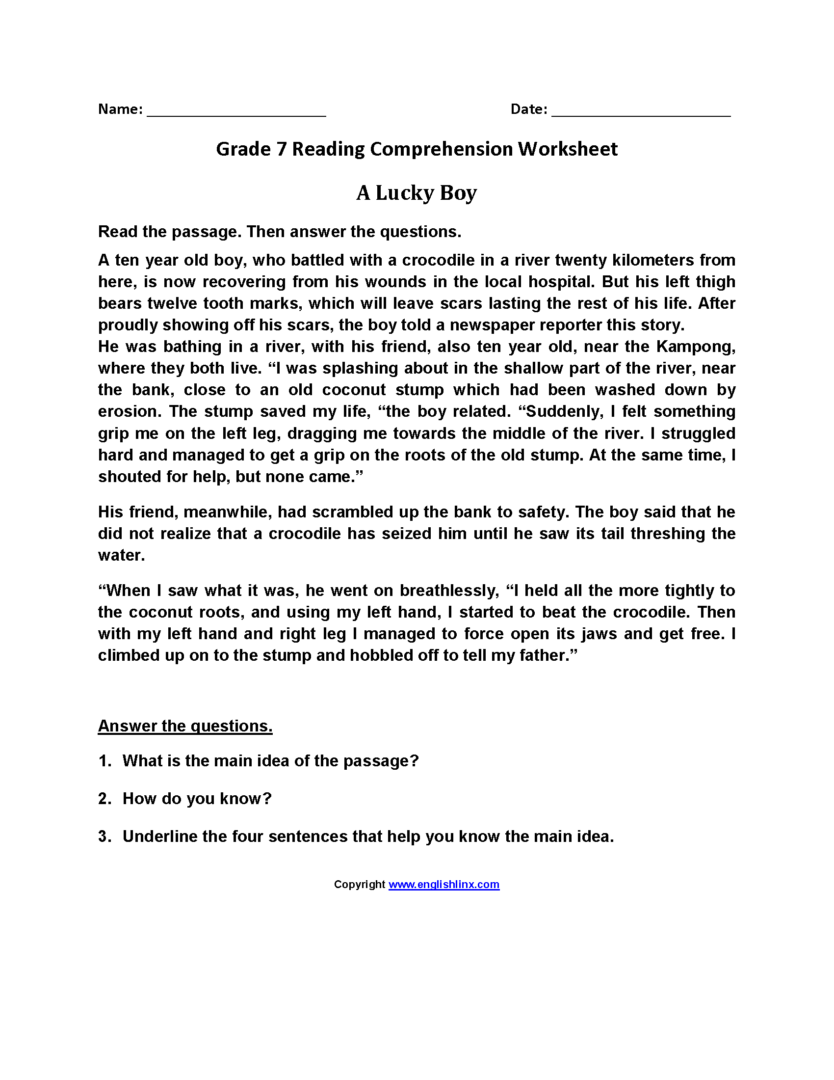 7th grade reading worksheets printable