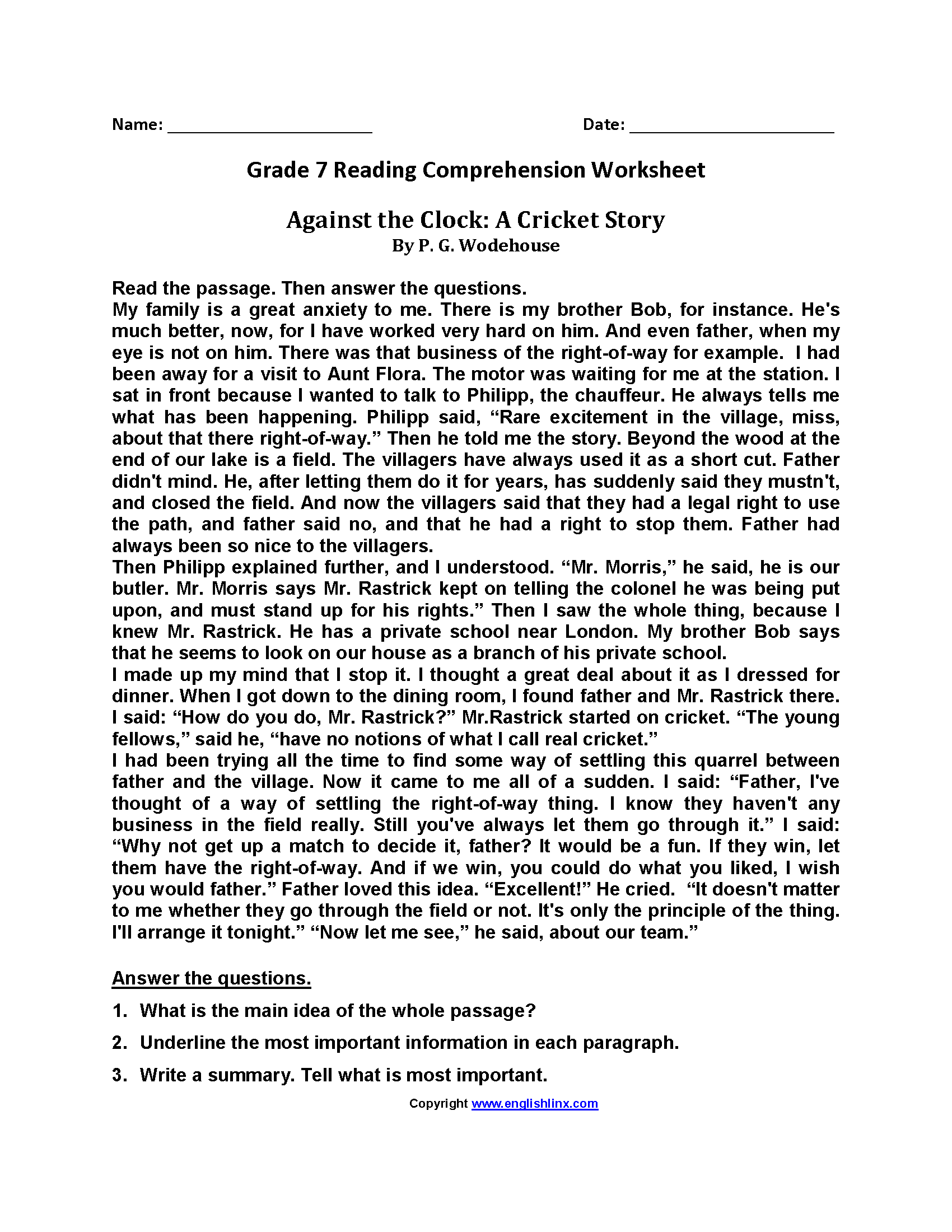 Reading Worksheets – Reading Worksheets for 7th Grade