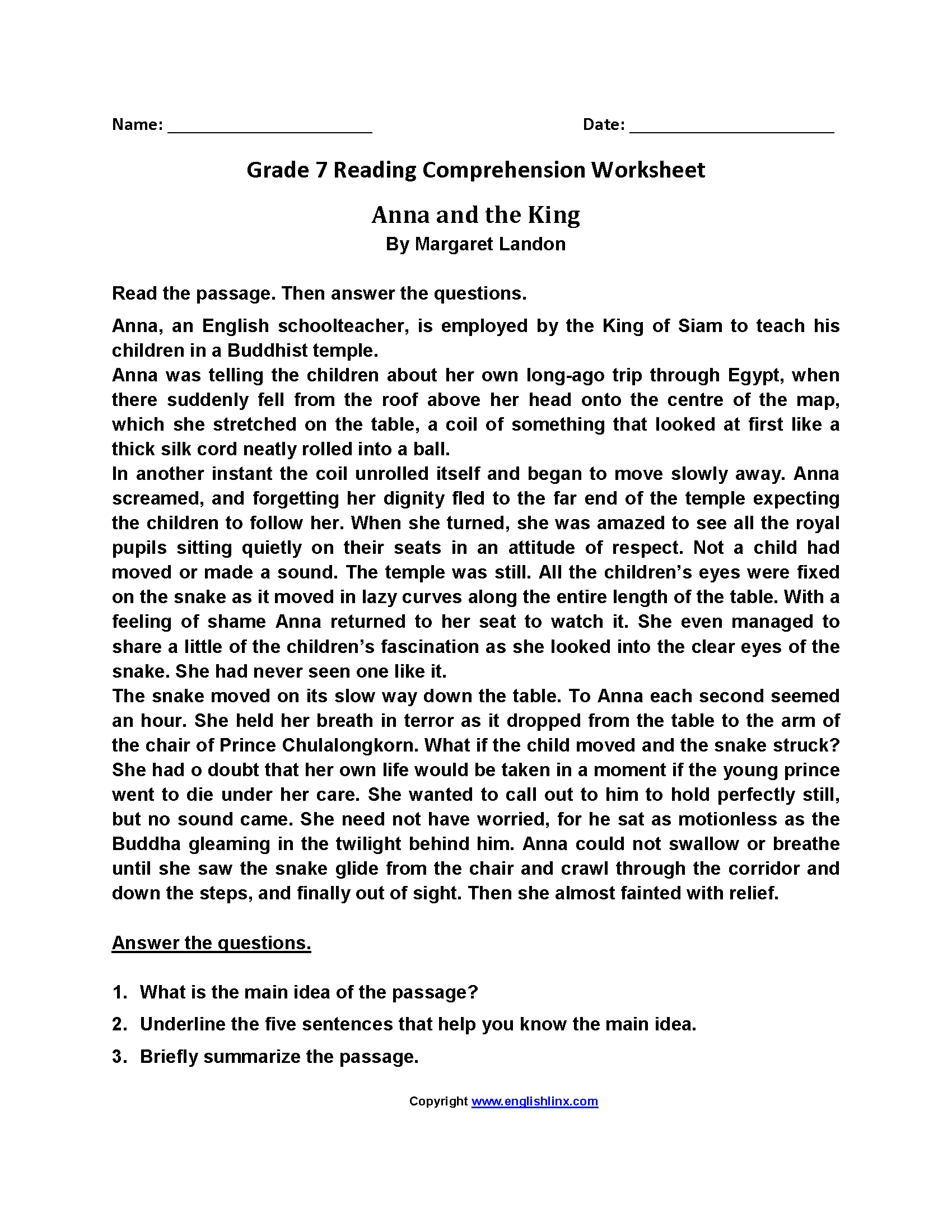 7th grade reading level worksheets