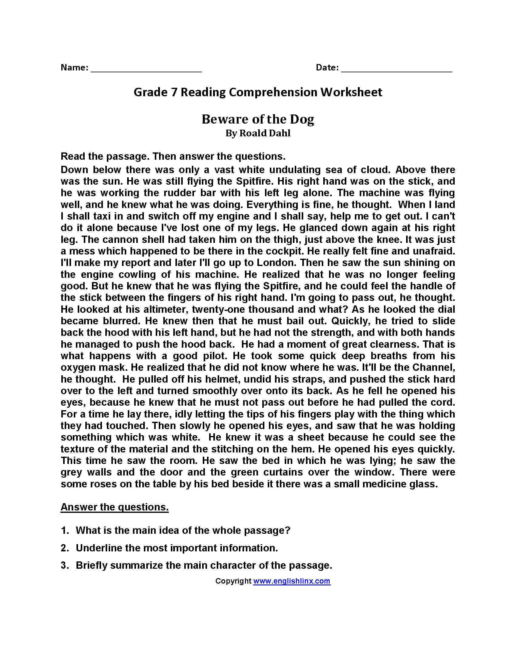 worksheet Worksheets For 7th Grade reading worksheets seventh grade worksheets