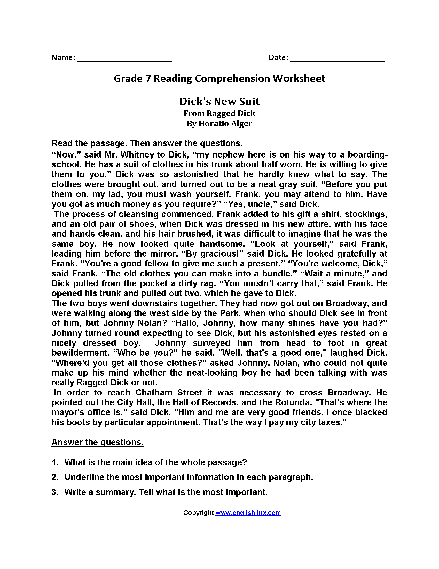 - Reading Comprehension For Grade 7 With Questions And Answers