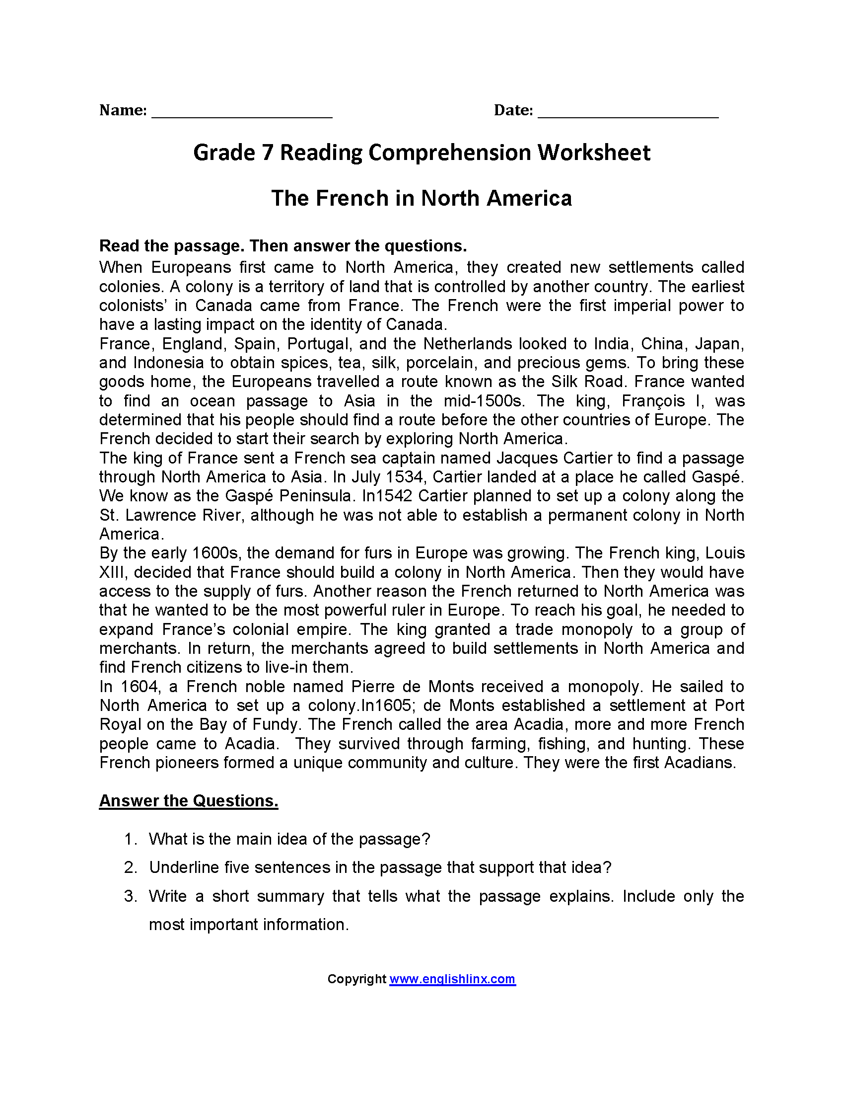 Worksheets French Reading Comprehension Worksheets reading worksheets seventh grade french in north americaseventh worksheets