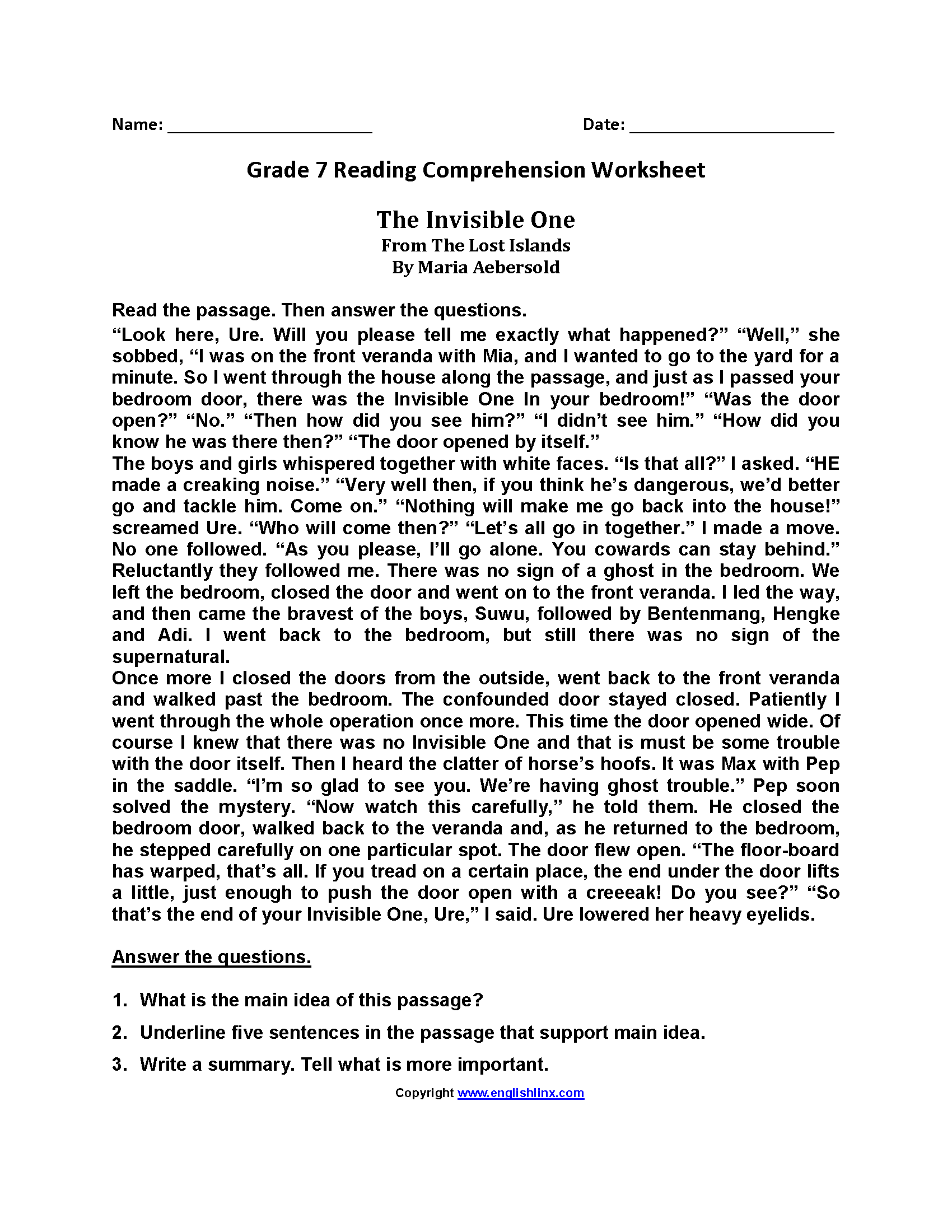 - Reading Worksheets Seventh Grade Reading Worksheets