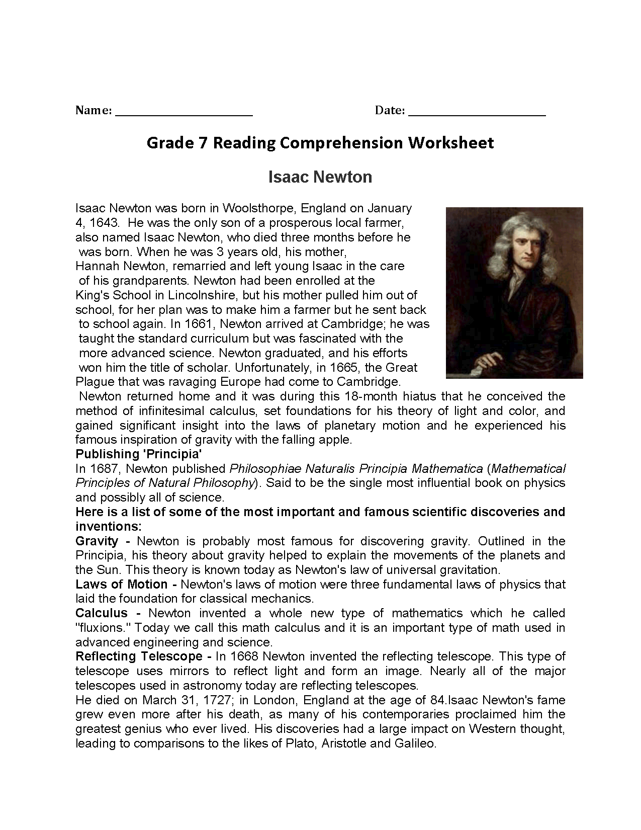 Isaac Newton<br>Seventh Grade Reading Worksheets