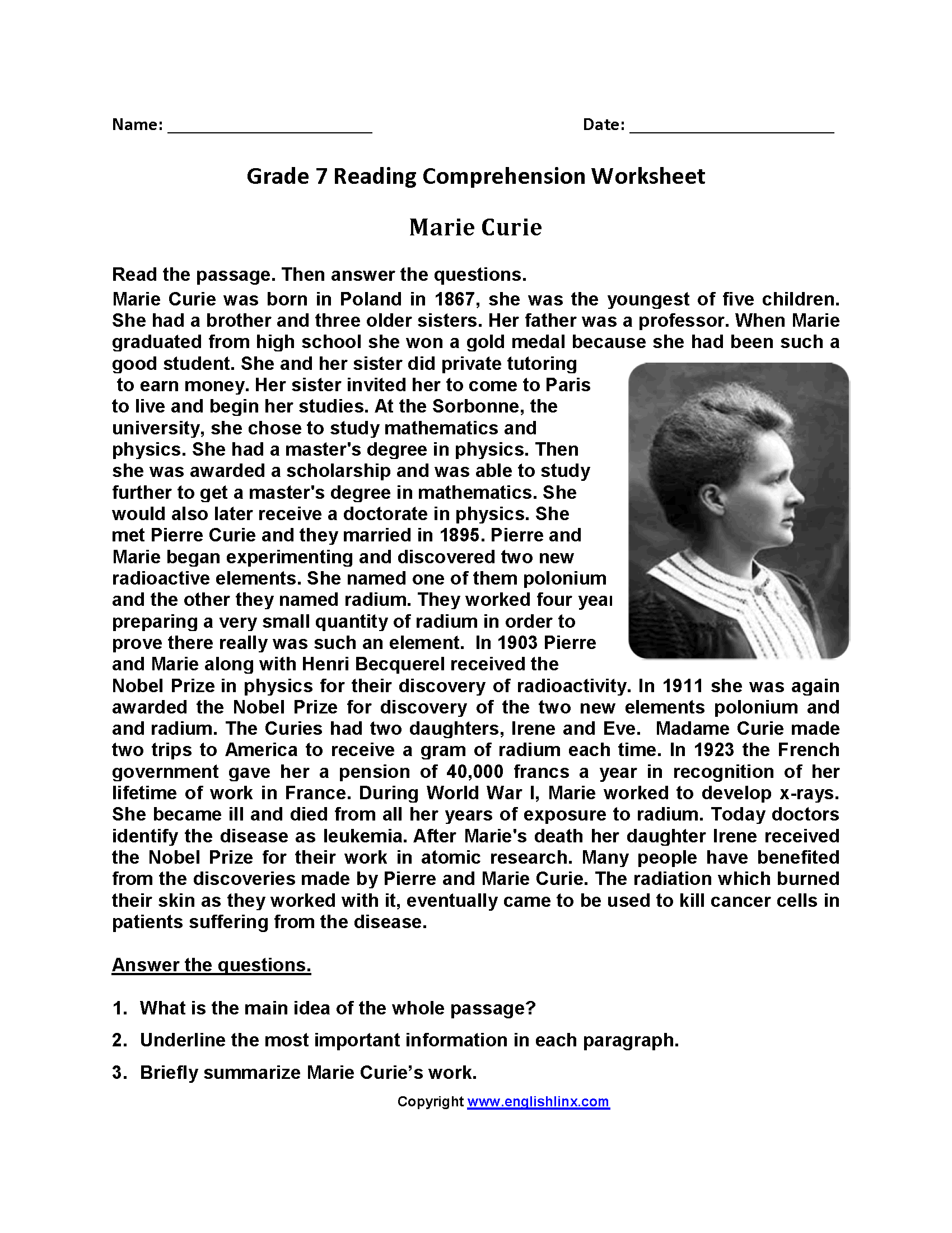 Marie Curie<br>Seventh Grade Reading Worksheets