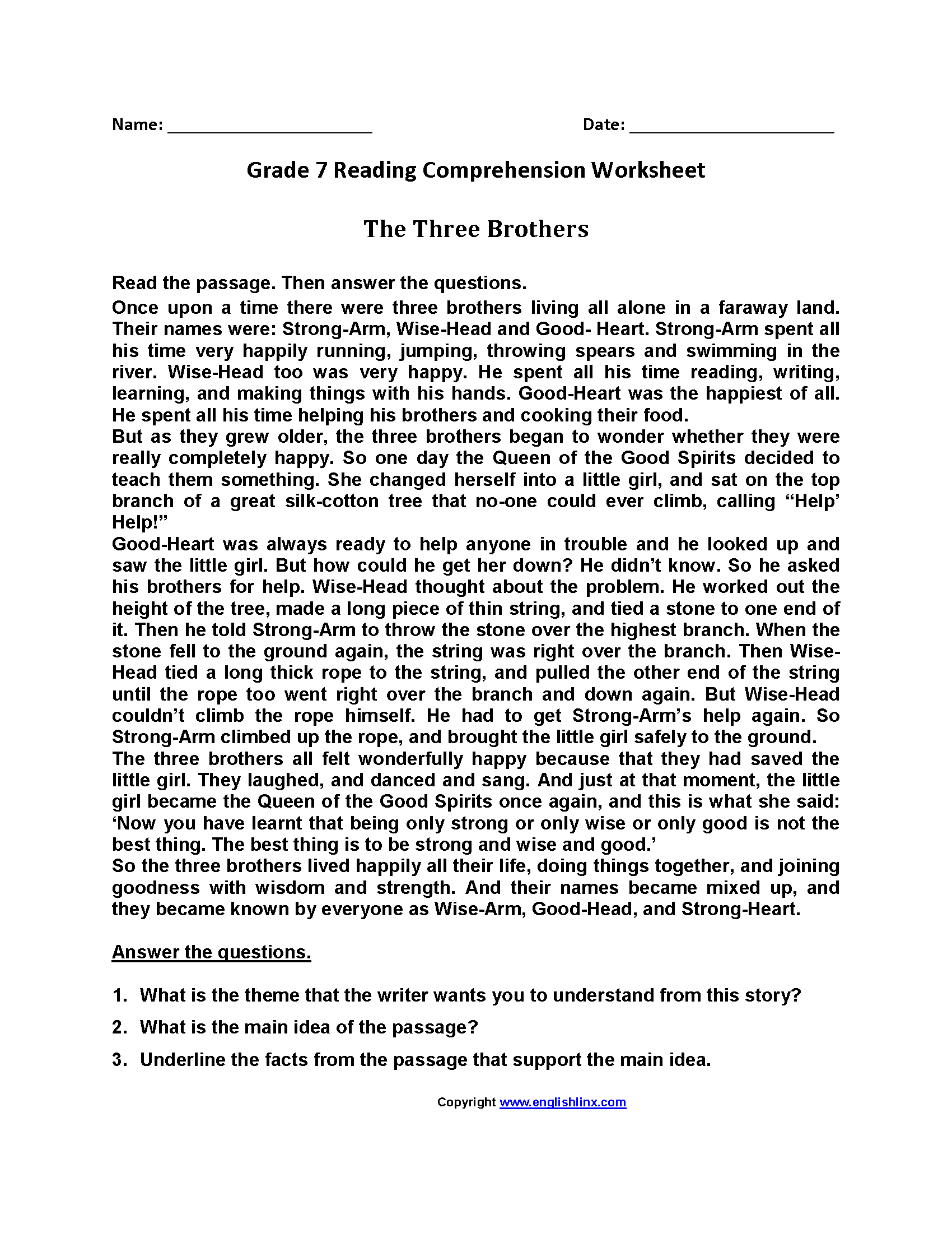 Reading Worksheets Seventh Grade Reading Worksheets