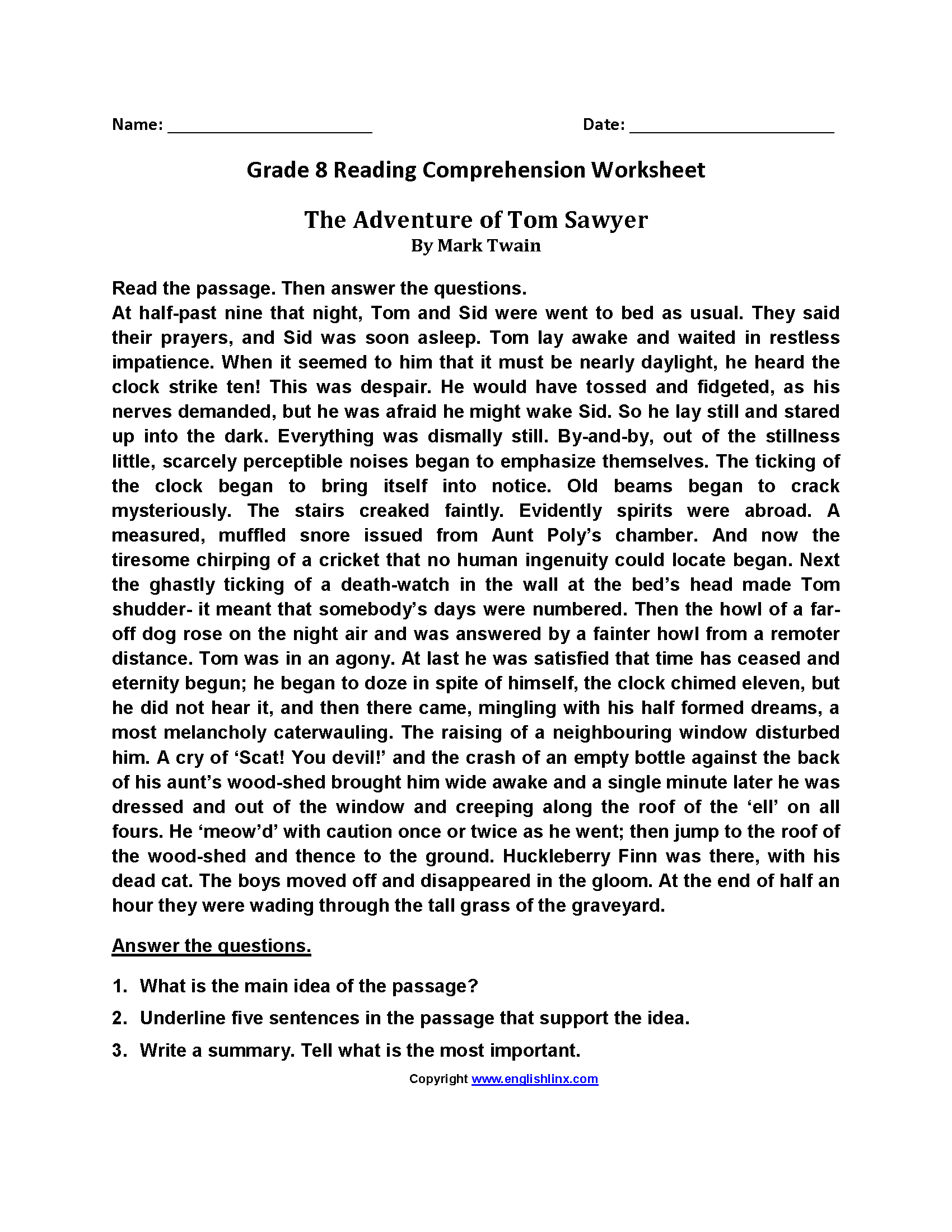 Worksheets Reading Comprehension Worksheets Grade 8 reading worksheets eighth grade worksheets