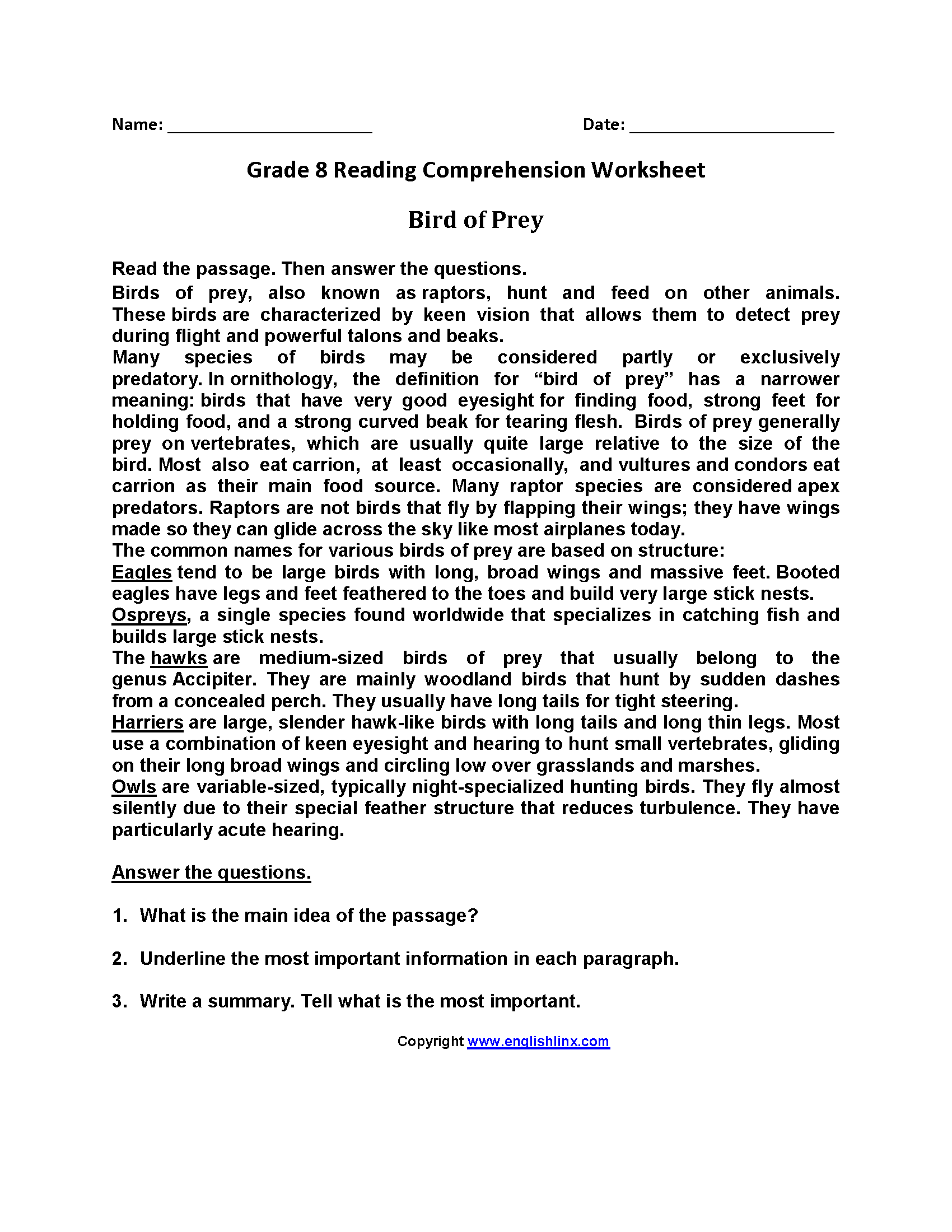 worksheet Reading Comprehension Worksheets 8th Grade reading worksheets eighth grade worksheets