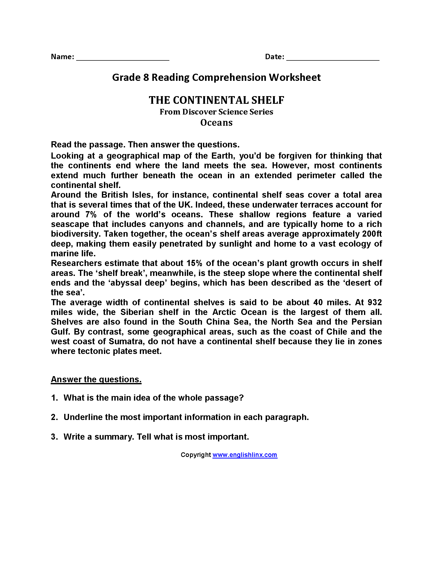 worksheet Grade 8 Comprehension Worksheets Free Printable reading worksheets eighth grade worksheets