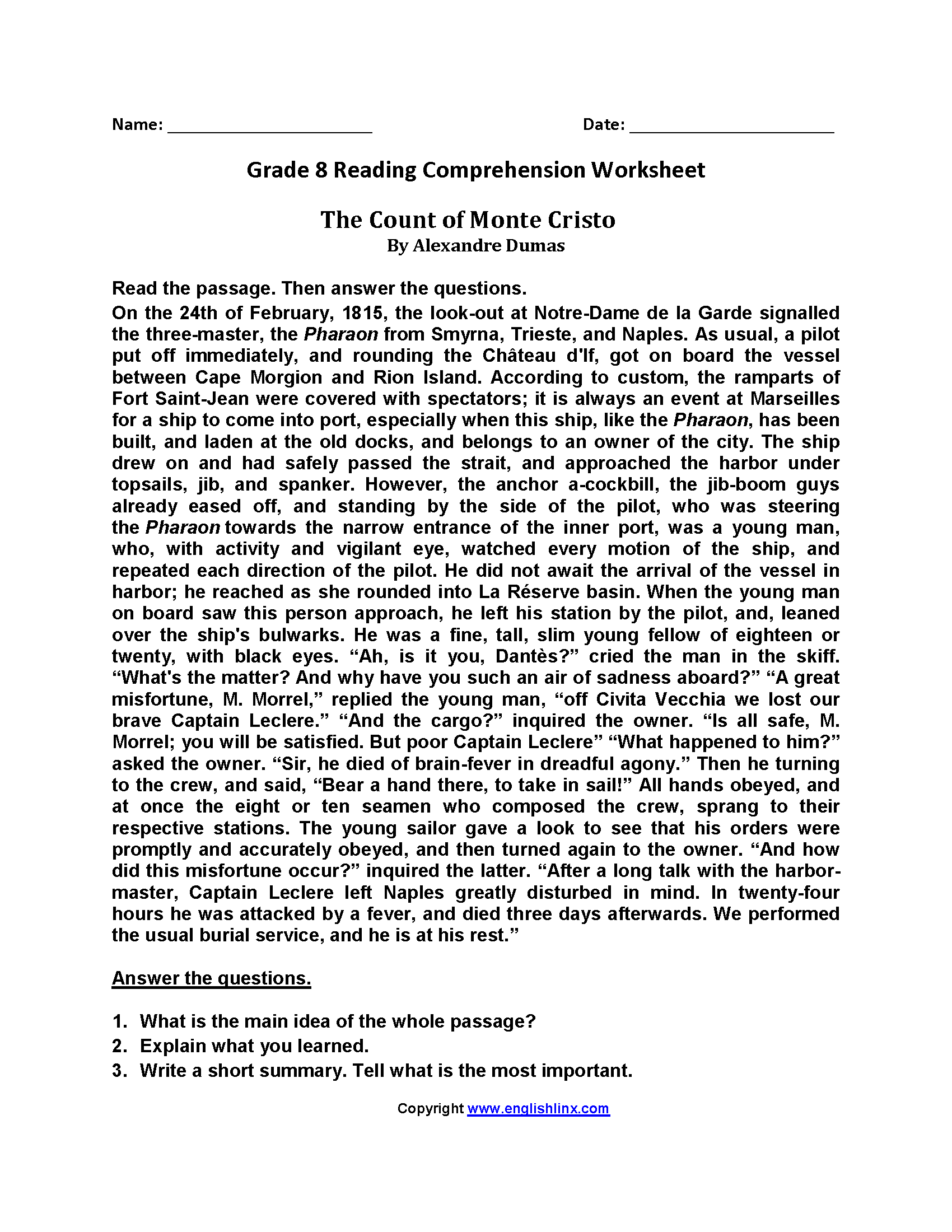 8th grade reading comprehension worksheets