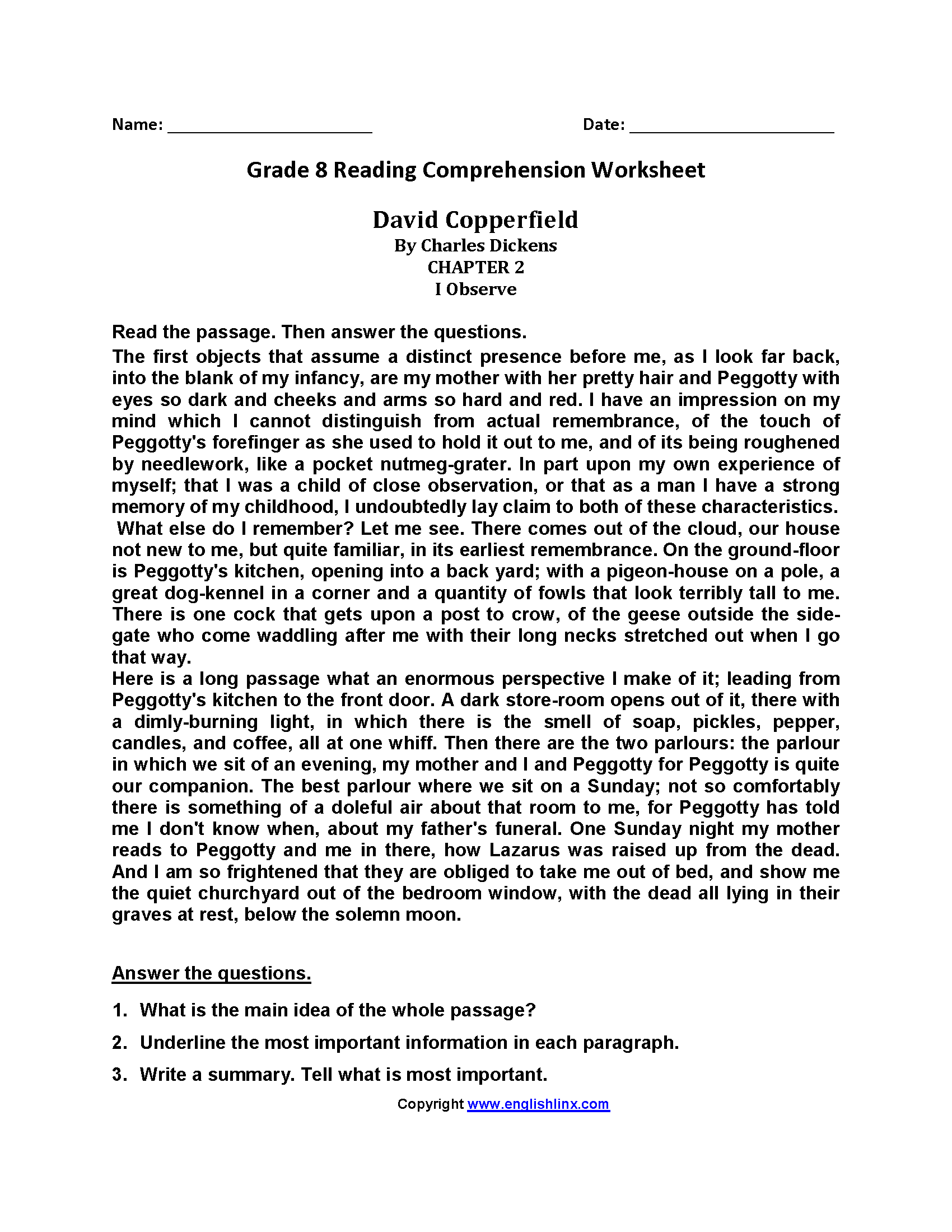 reading worksheets eighth grade reading worksheets david copperfield eighth grade reading worksheets