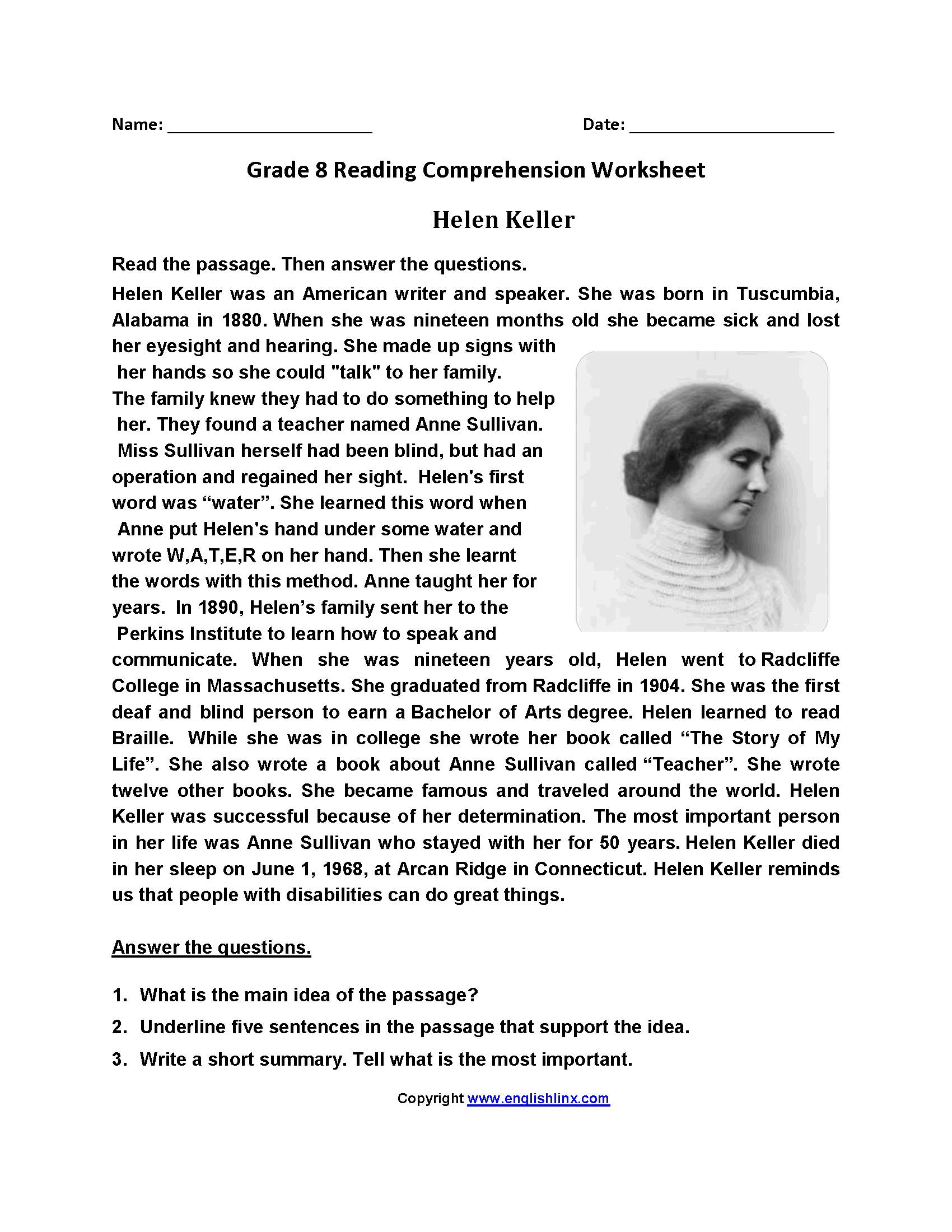 Worksheets 8th Grade Reading Comprehension Worksheets reading worksheets eighth grade worksheets